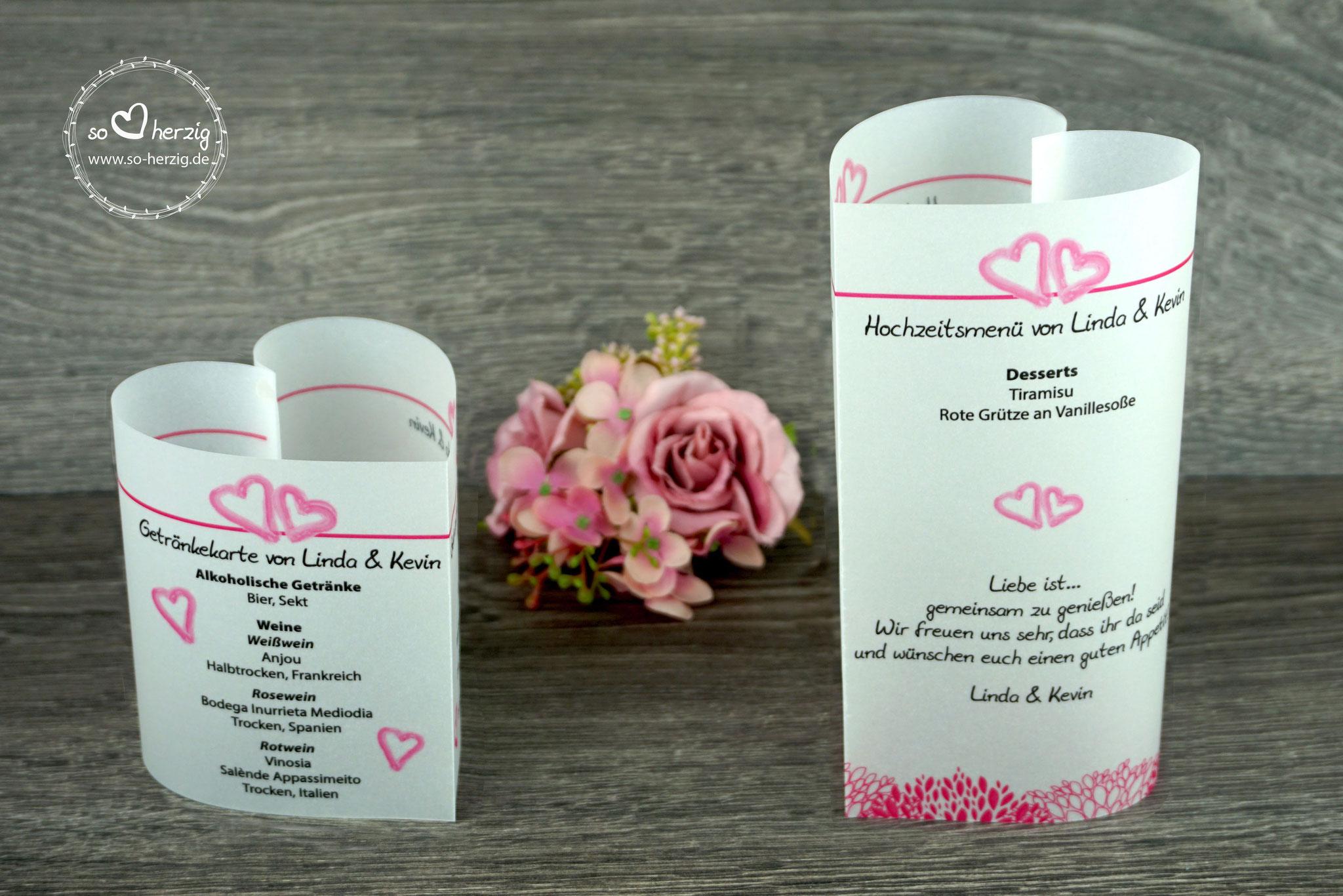 """Menü,- und Getränkekarten Variante """"kleine Herzen"""", Farbe Pink, Schrift Julius Thyssen"""