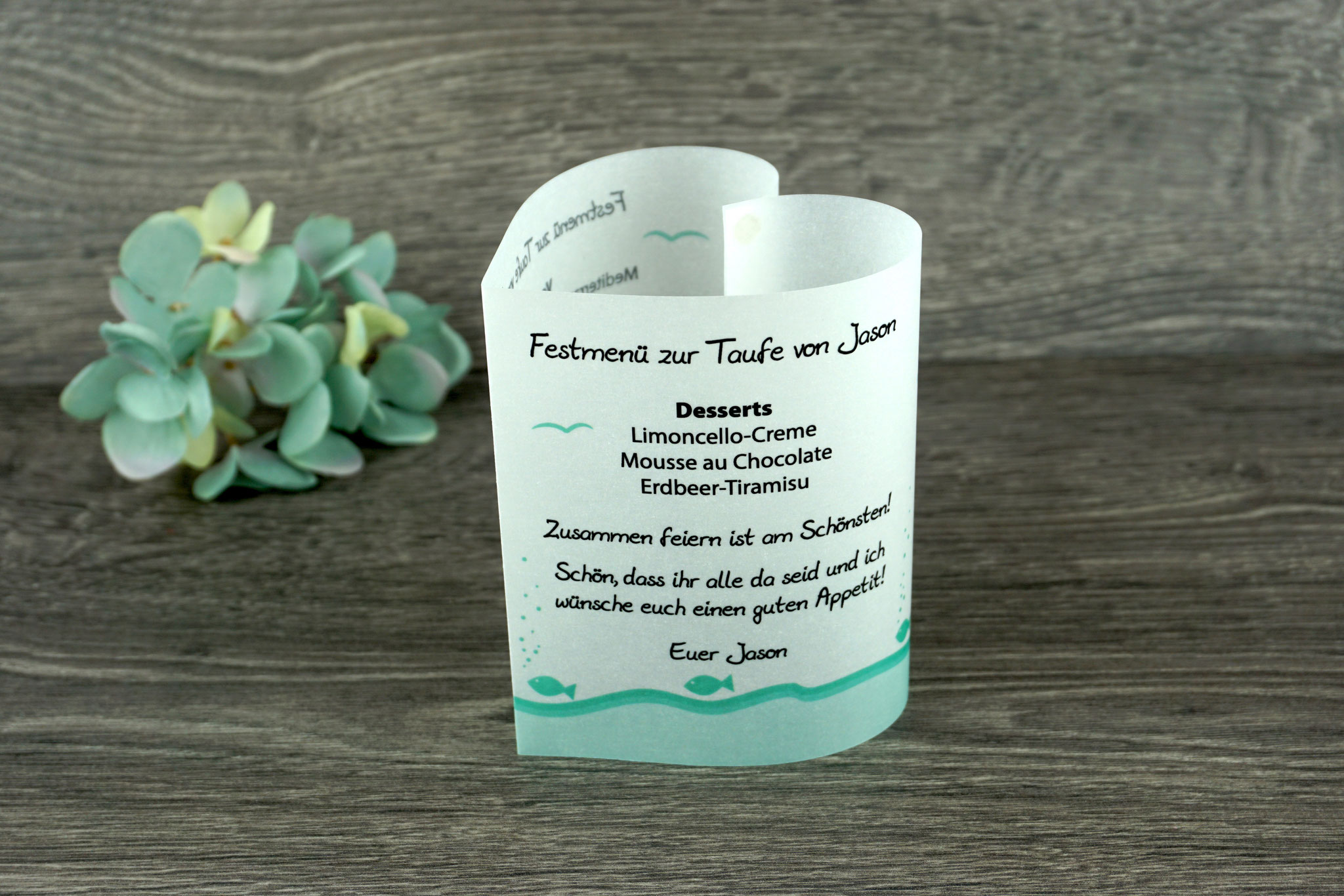 Menükarte Taufe 10,5cm, Design Fische, Farbe Mint