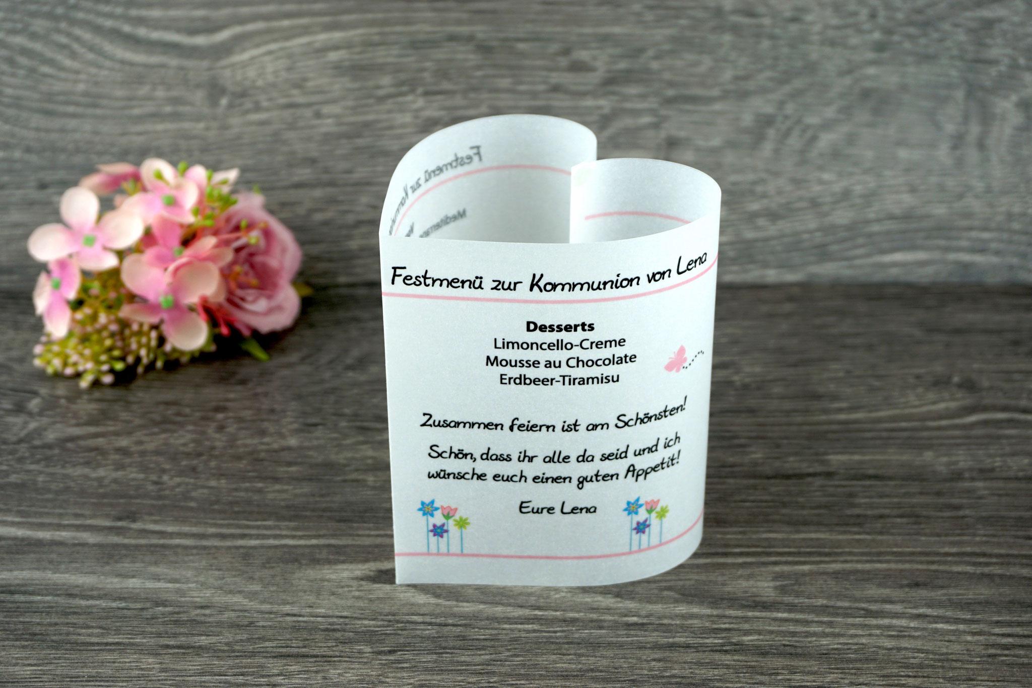 Menükarte Herzform 10,5cm, Design Blumenwiese Rosa