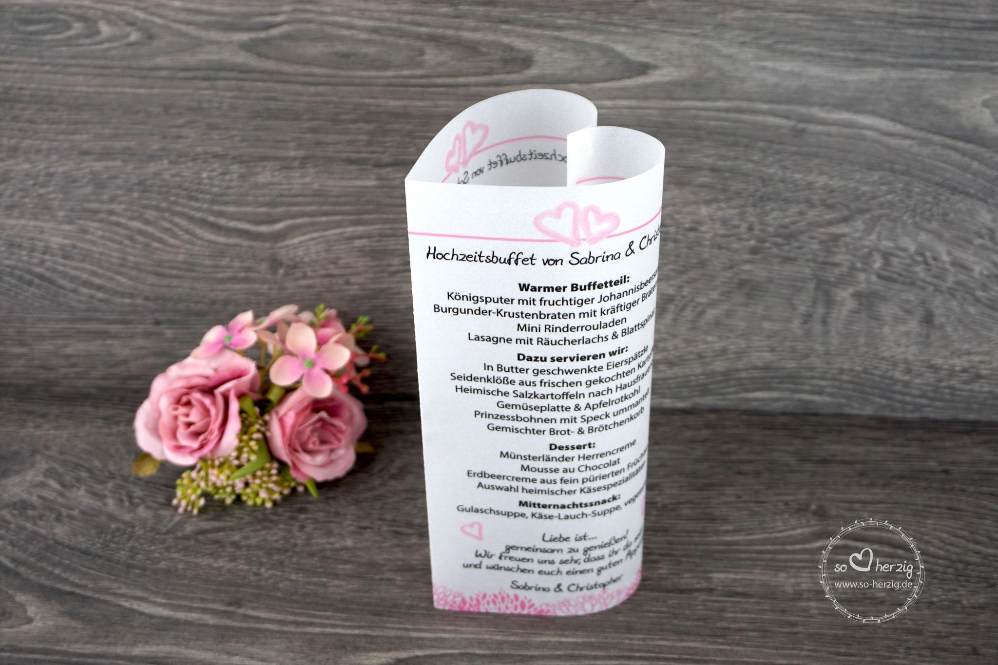 """Menükarte 17cm, Variante """"kleine Herzen"""", Farbe Rosa, Schrift Julius Thyssen"""