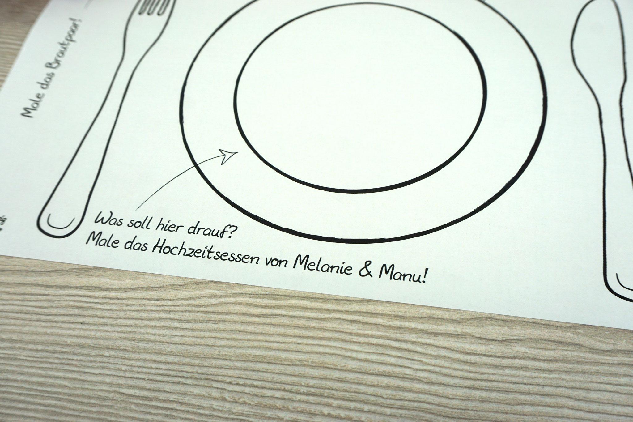 """Platzset """"Personalisiert"""" mit Portraitrahmen zum Ausmalen/Bunt, Design Hochzeitsvögel - Sonderanfertigung"""