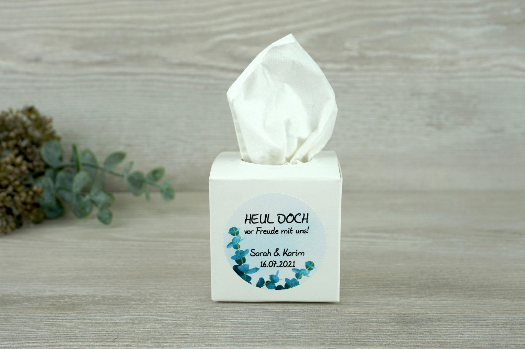 "Freudentränen Box Weiß, fertig gestaltet, Aufkleber ""Eukalyptus"""