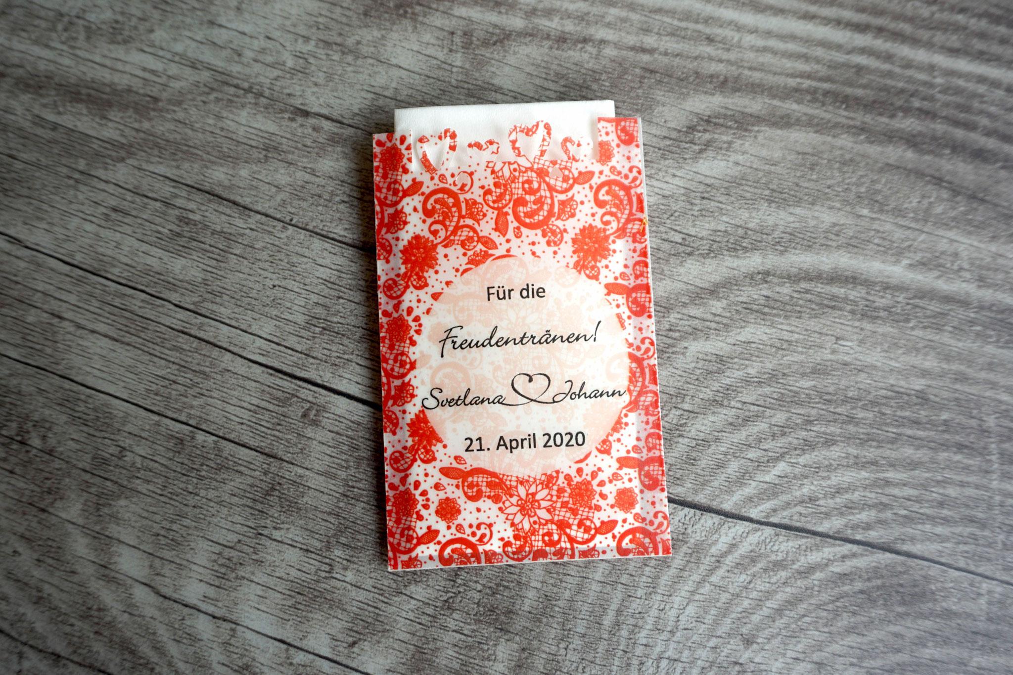 Freudentränen Taschentücher Design Spitze Vintage, Farbe Rot, mit Herzrand