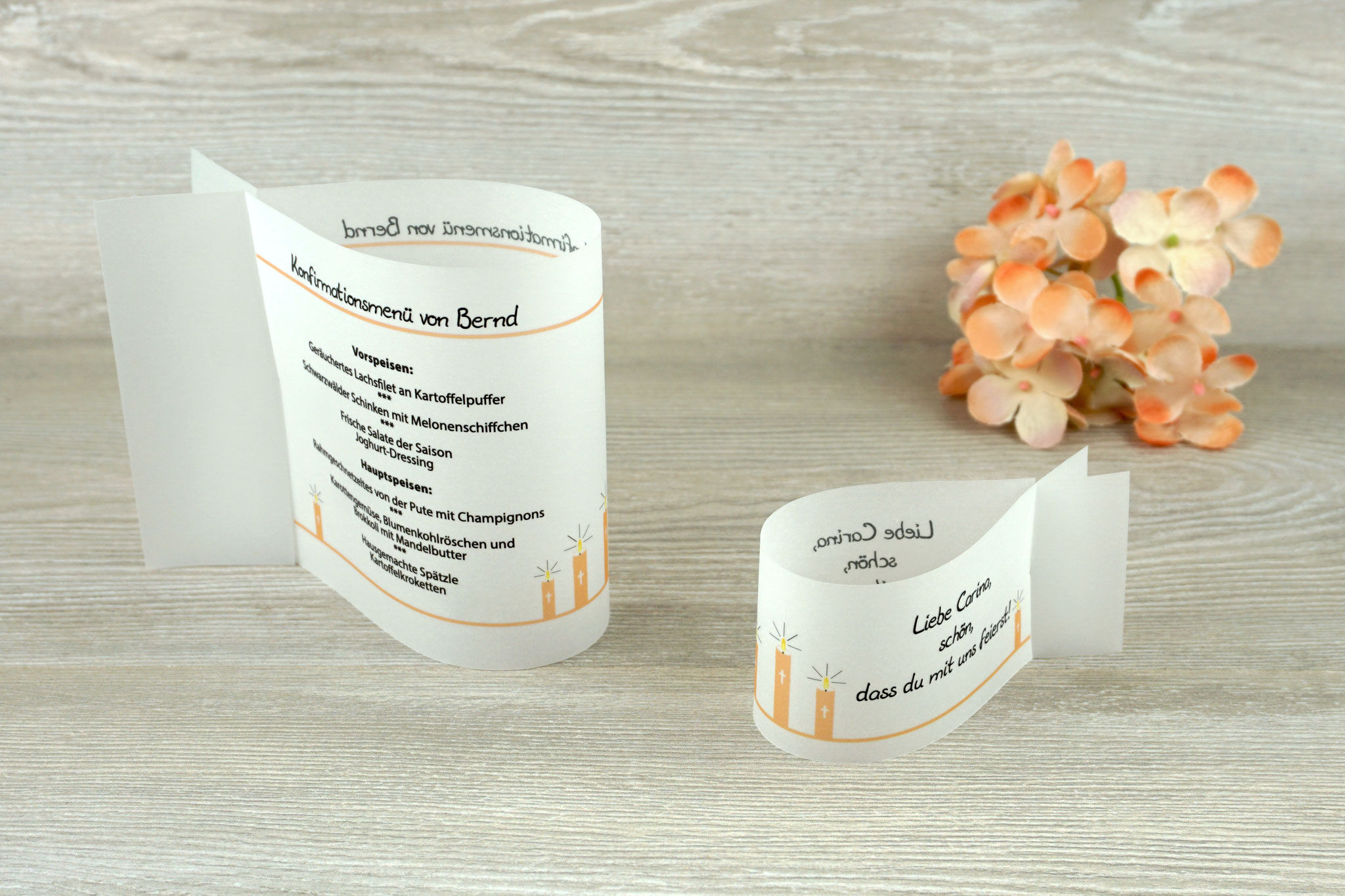 Menükarte & Platzkarte Fischform, Design Kerzen Apricot
