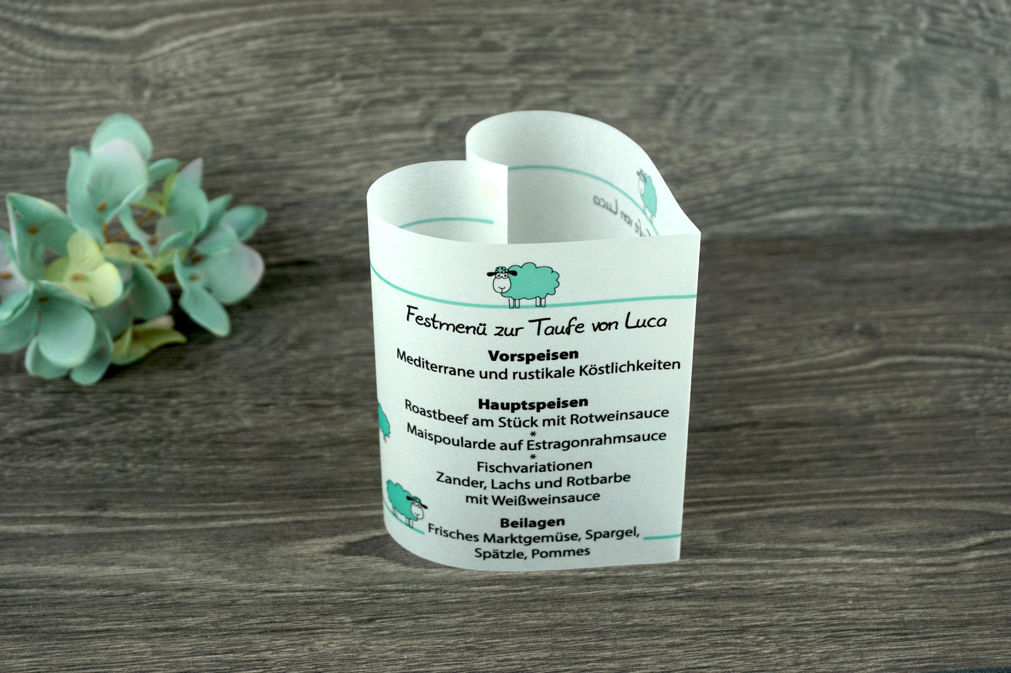Menükarte Taufe 10,5cm, Design Schaf, Farbe Mint