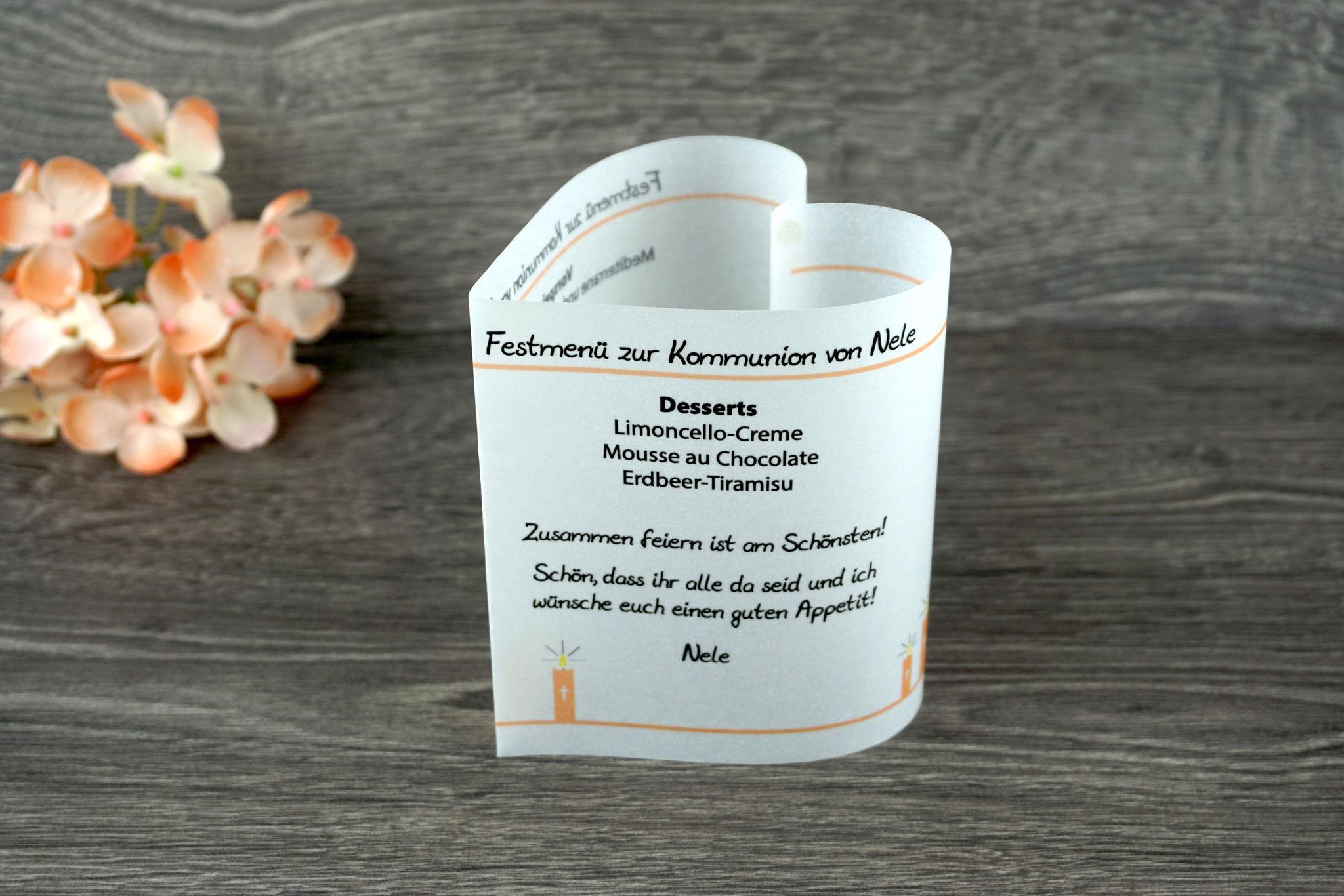 Menükarte Herzform Design Kerzen, Farbe Apricot