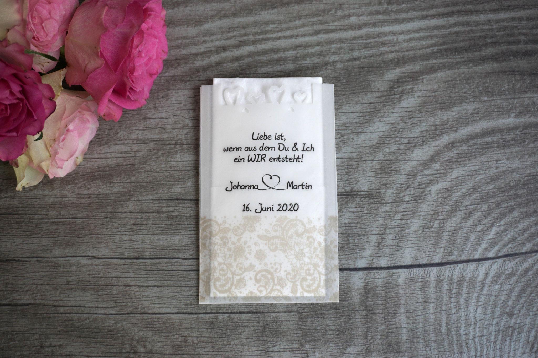 Freudentränen Taschentücher, Design Spitzenband, Farbe Beige mit Herzrand