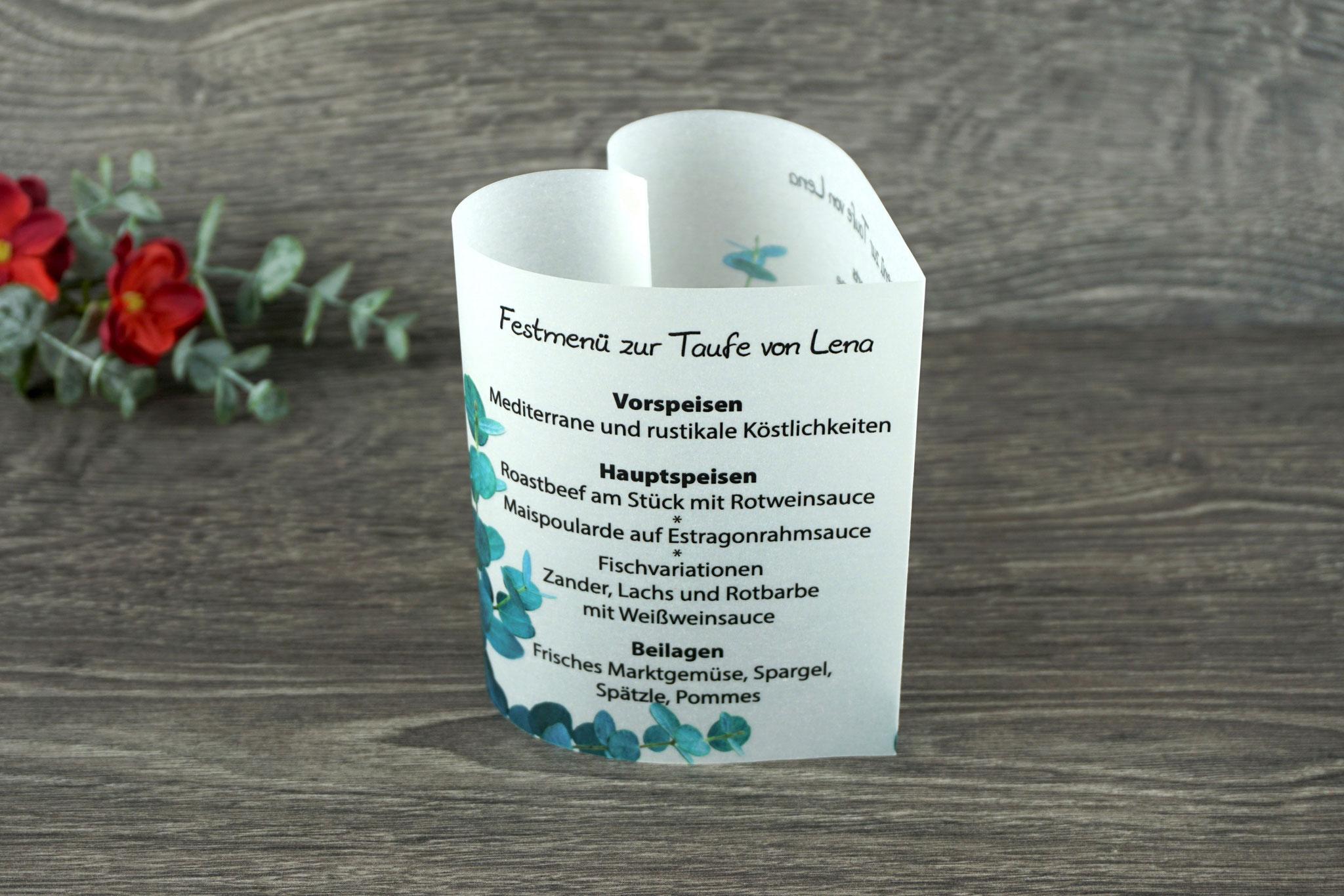 Menükarte Taufe 10,5cm, Design Eukalyptus