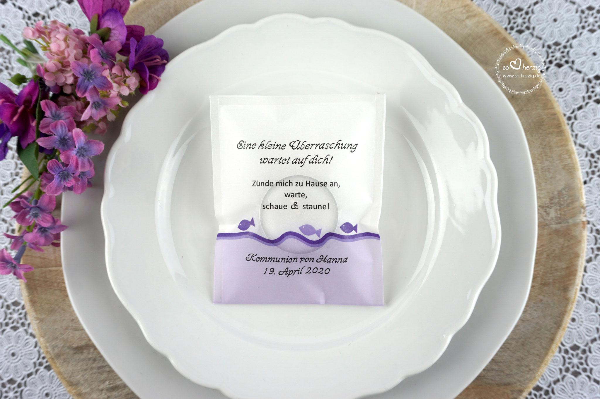 Teelicht-Botschaft Design Fische Lila - Schrift Freehand591 BT