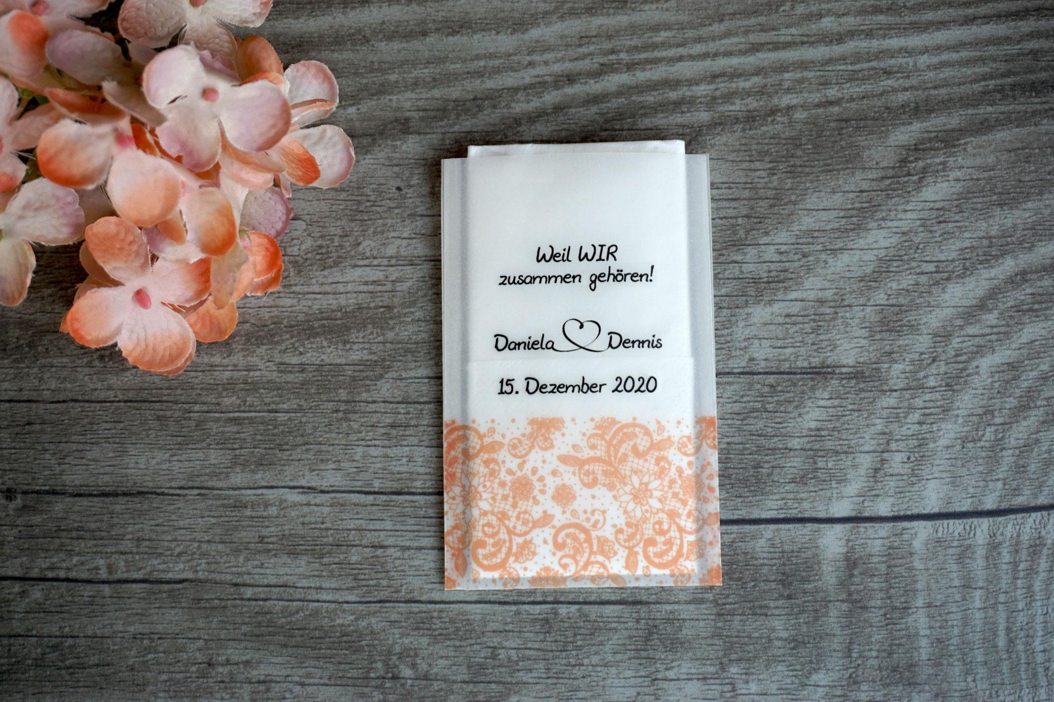 Freudentränen Taschentücher, Design Spitzenband Farbe Apricot