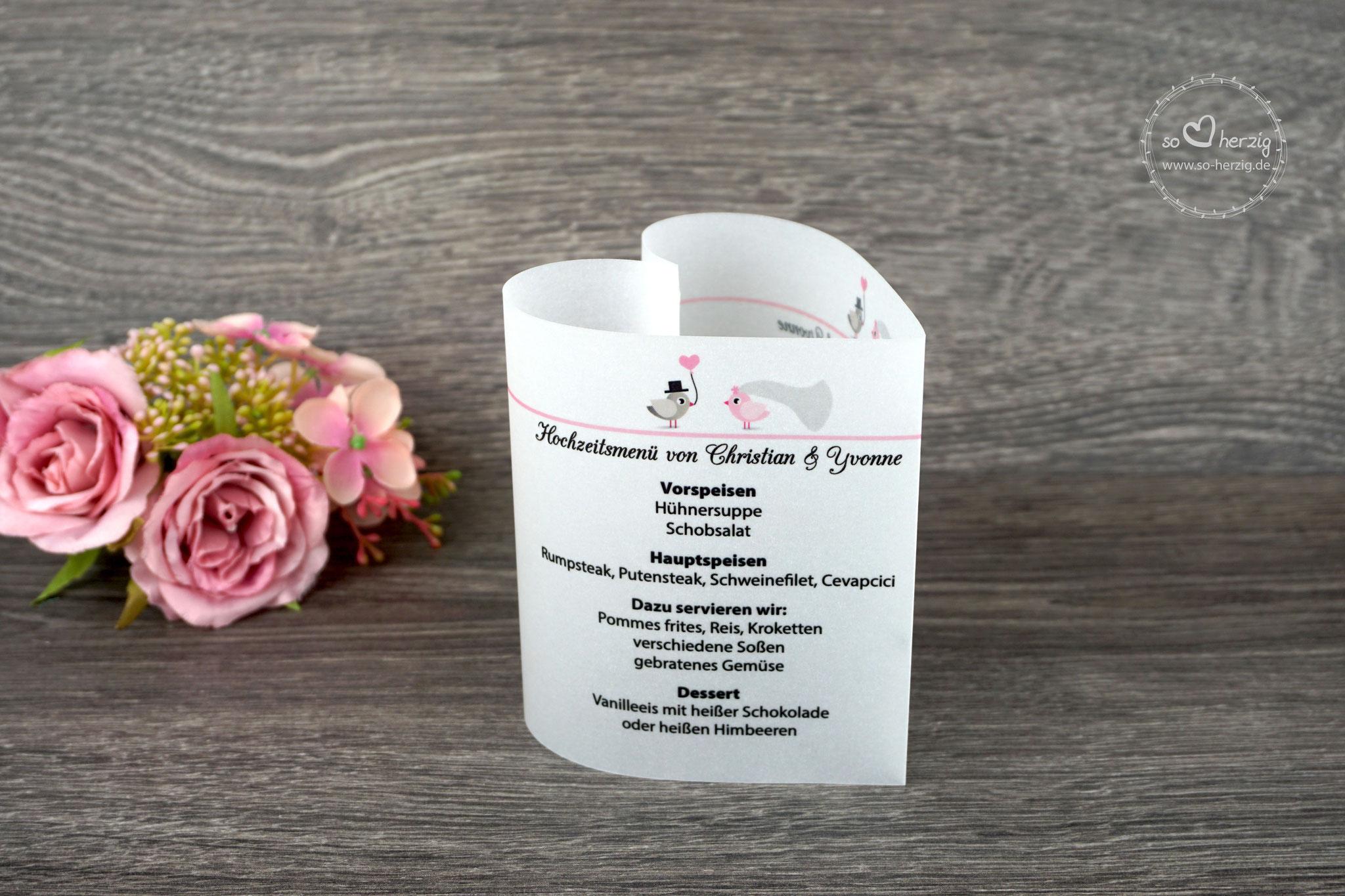 Menükarte 10,5cm Design Hochzeitsvögel, Farbe Rosa/Graubraun, Schrift CAC Champagne