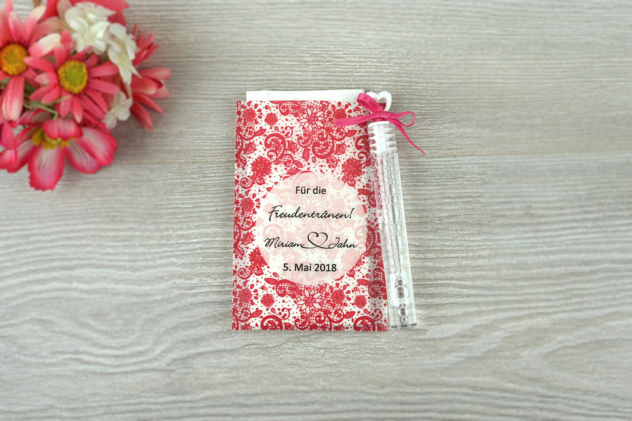 Freudentränen Taschentücher mit Seifenblasen, Design Spitze Vintage, Farbe pink, Satinband