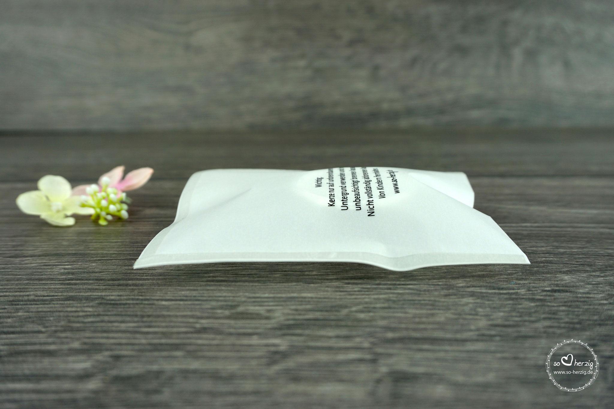 Teelicht-Botschaft Seitenansicht
