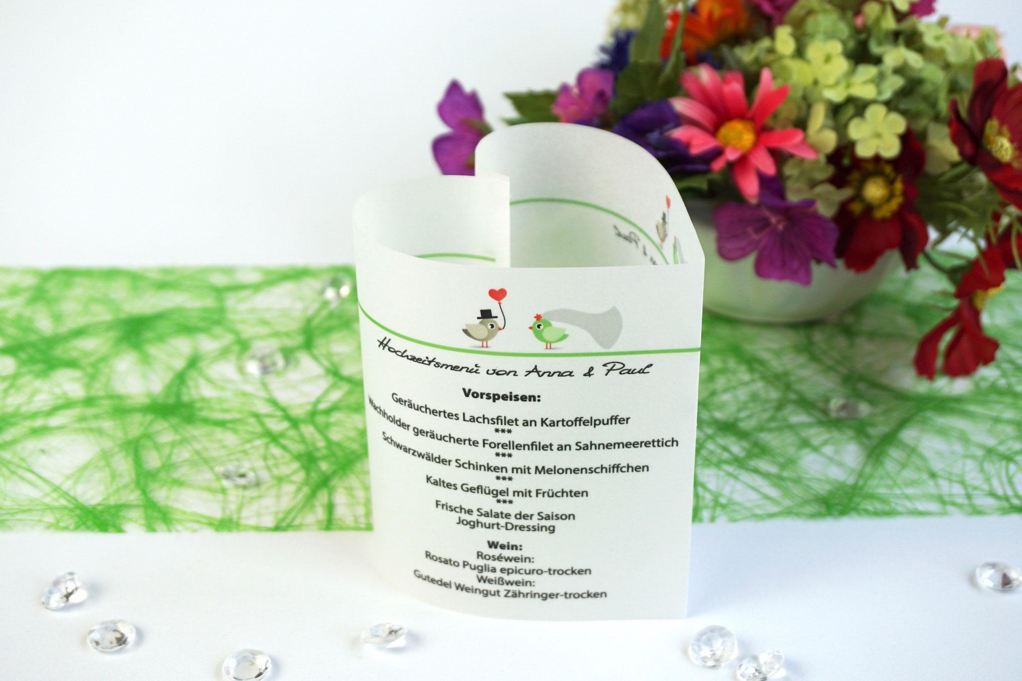 Menükarte 10,5cm Design Hochzeitsvögel, Farbe Apfelgrün/Graubraun, Schrift First Lady