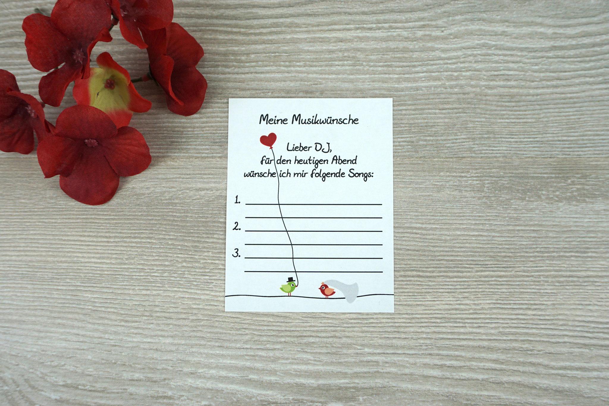 Musikwunschzettel Design Hochzeitsvögel grün/rot