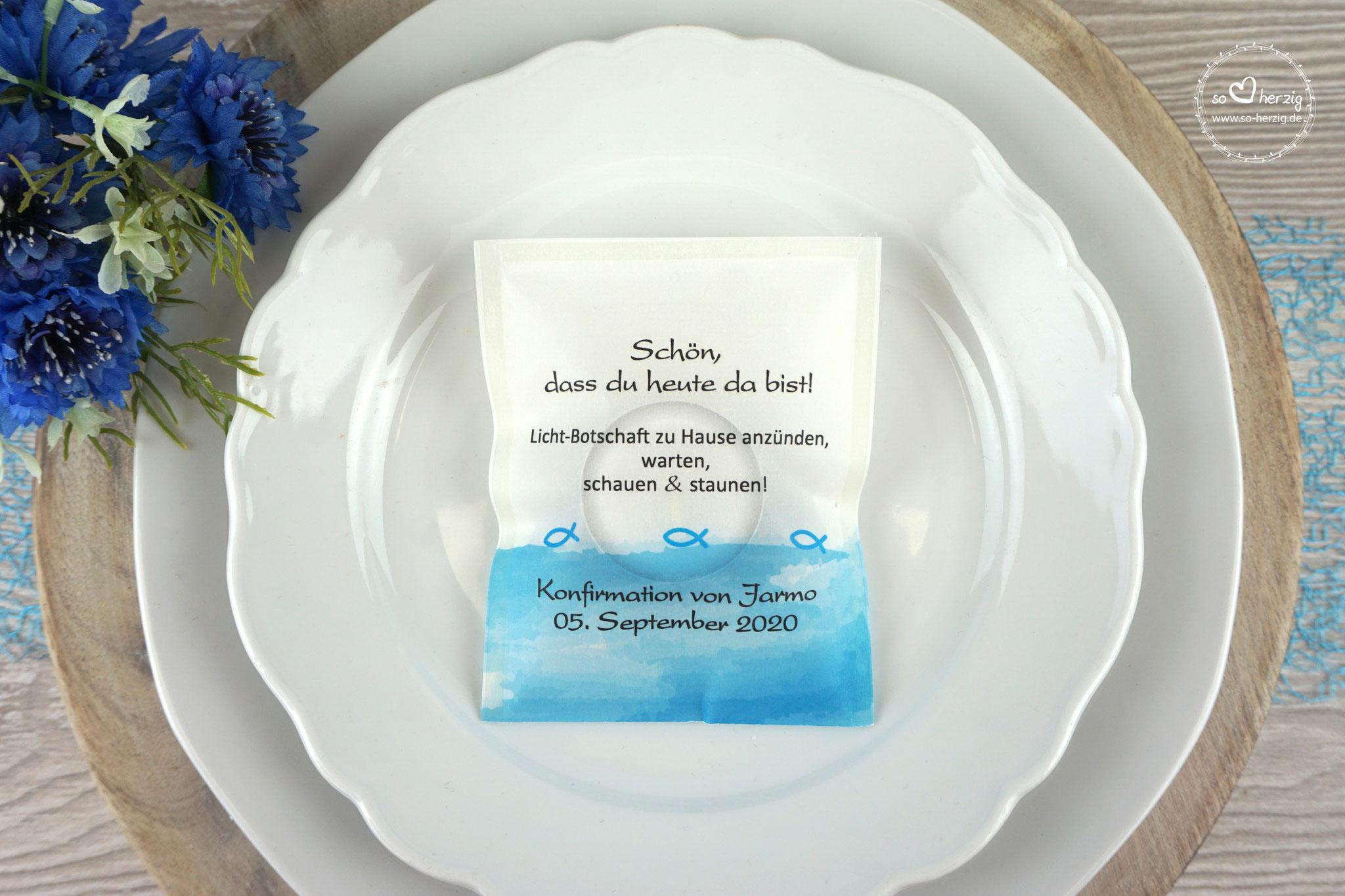 Licht-Botschaft  Design Aquarellband/Fische Blau