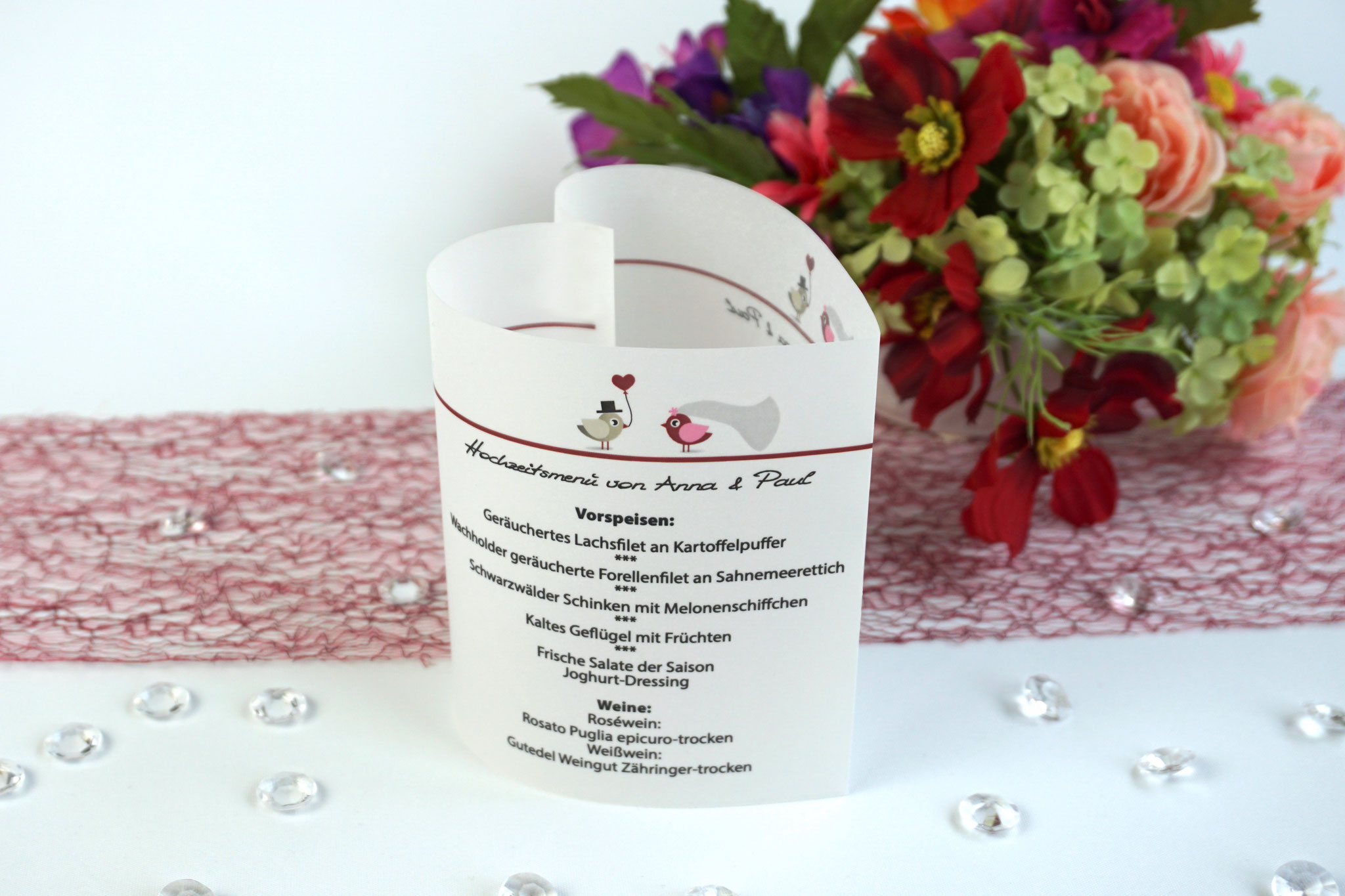 Menükarte 10,5cm Design Hochzeitsvögel, Farbe Bordeaux/Graubraun, Schrift First Lady