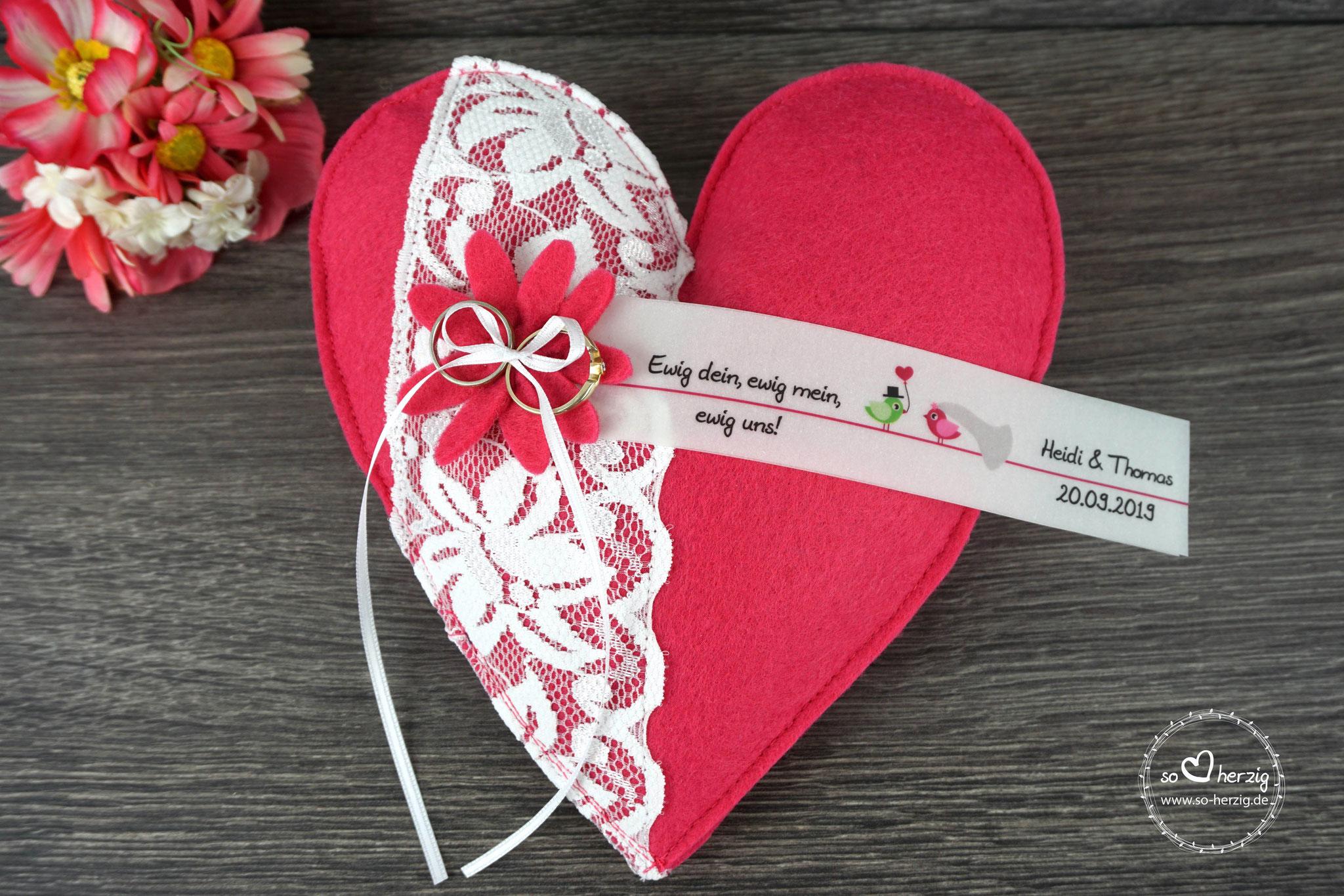 Ringkissen Herz pink - Design Hochzeitsvögel