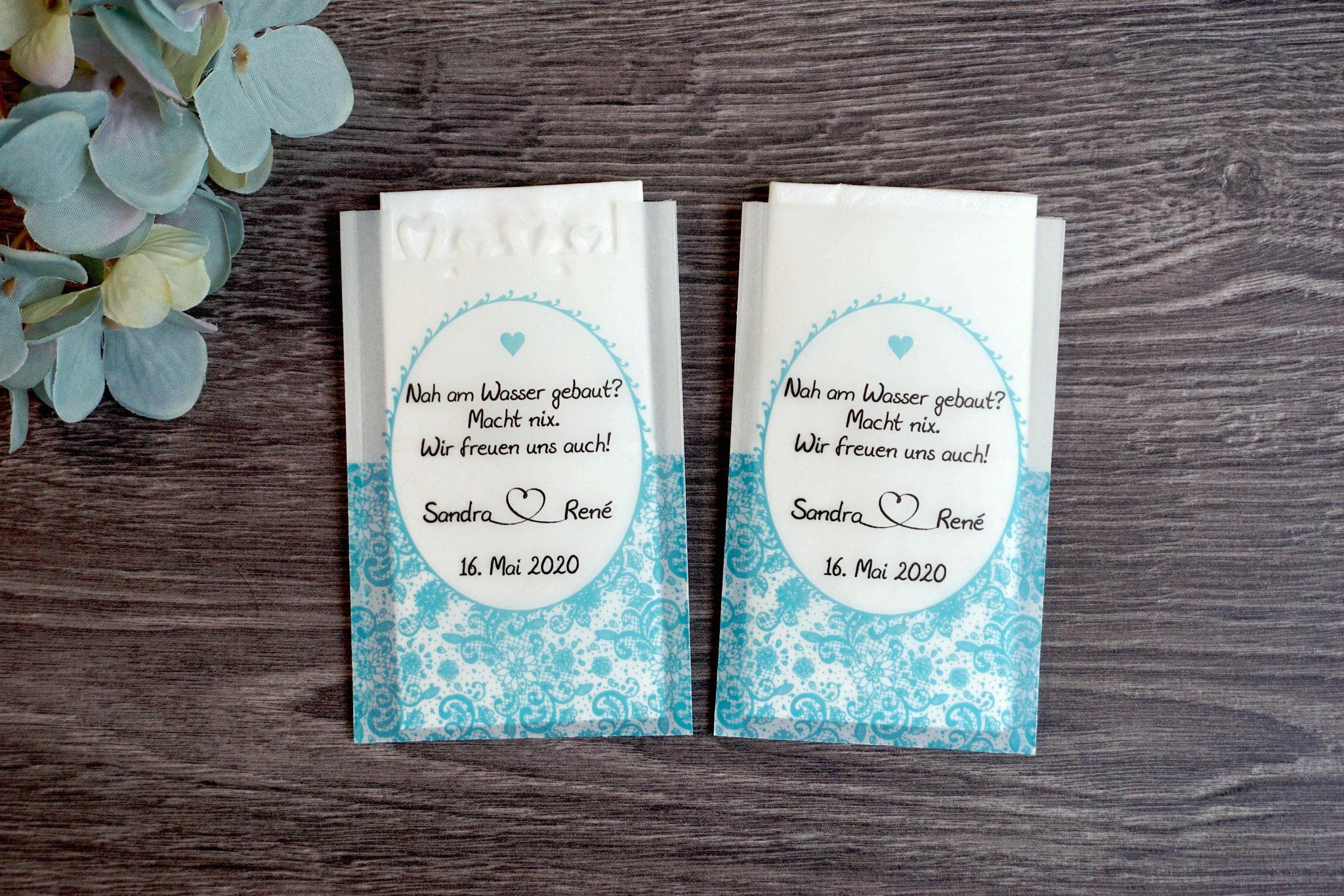 Freudentränen Taschentücher Design Romantik, Farbe Türkis dunkel