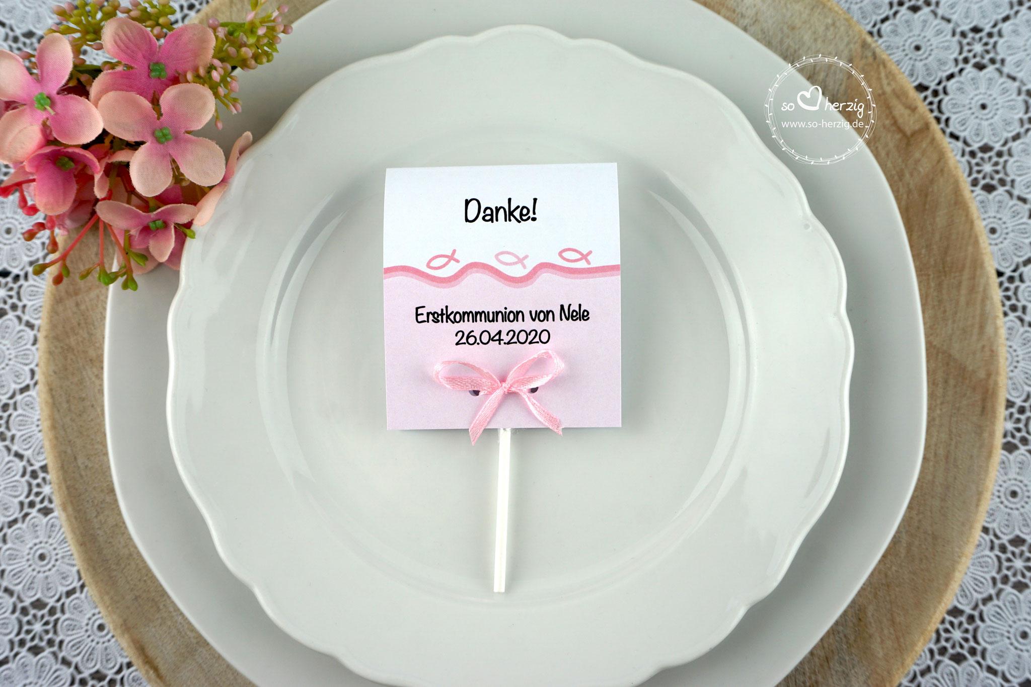 Lutscher Design Fisch Silhouette Farbe Rosa