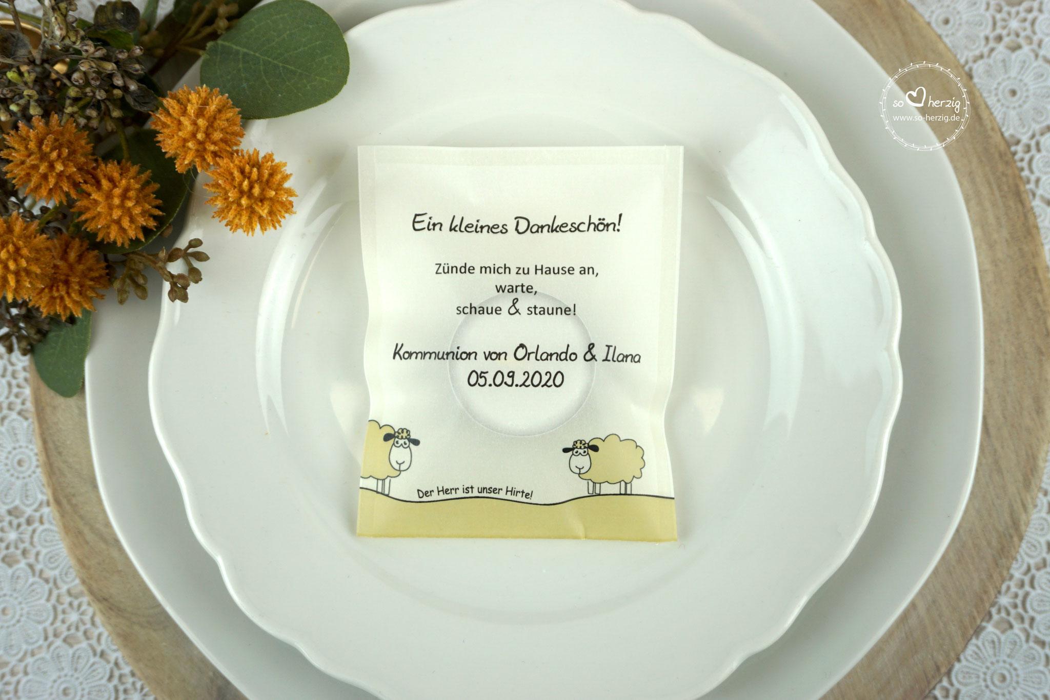 """Teelicht-Botschaft für Zwillinge Design """"Schaf"""" Goldfarben - Sonderwunsch"""