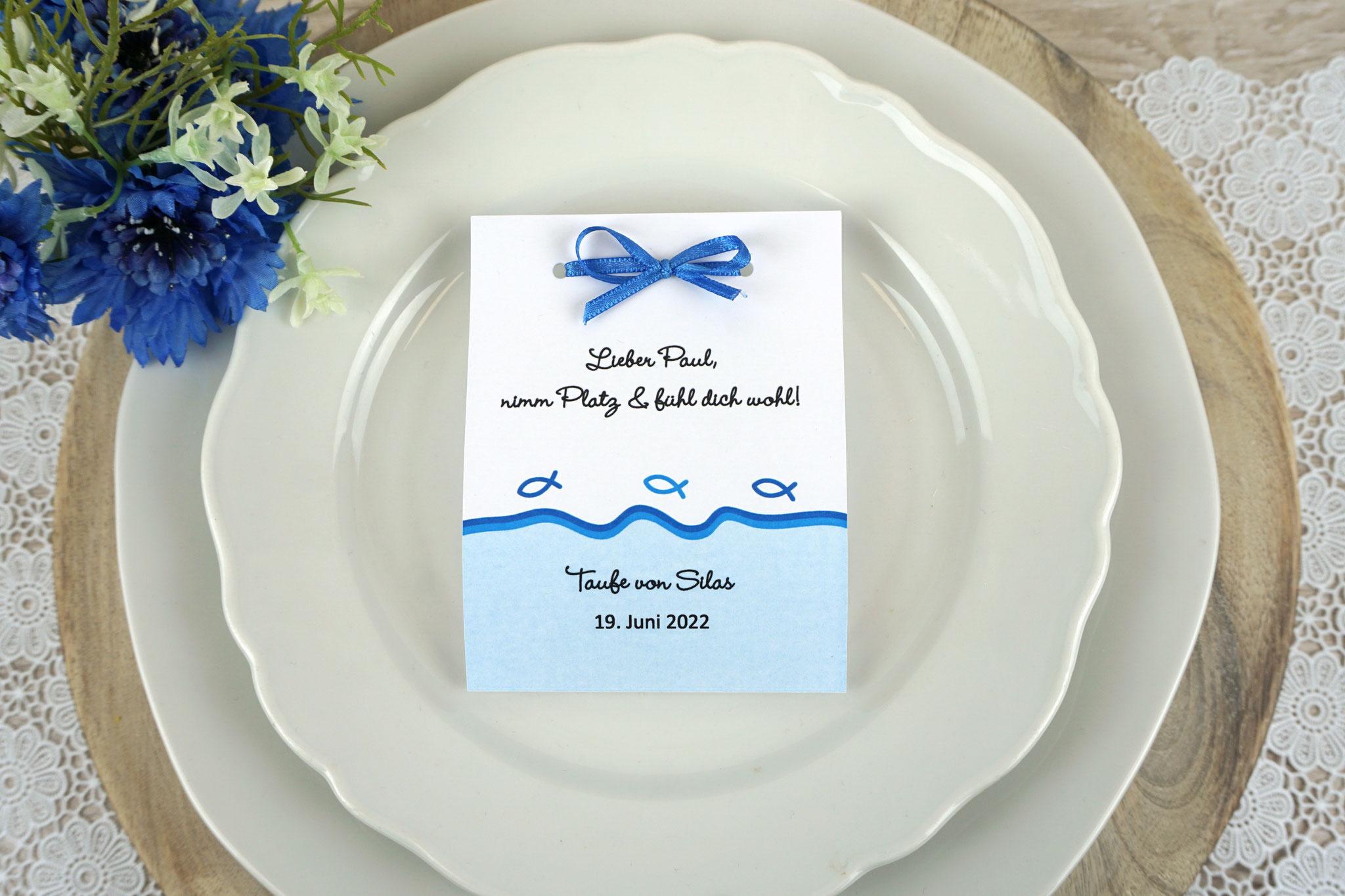 Fruchtgummi Design Fisch Silhouette Blau - Schrift Wendy LP Light