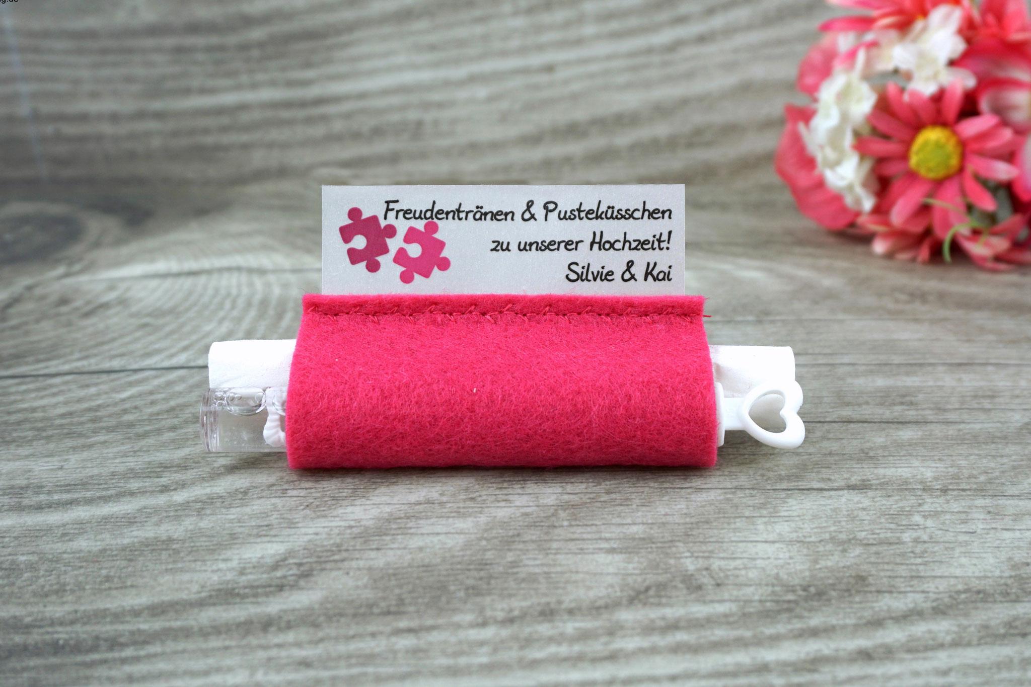 Freudentränen Taschentücher mit Weddingbubbles, Filz pink, Design Puzzle