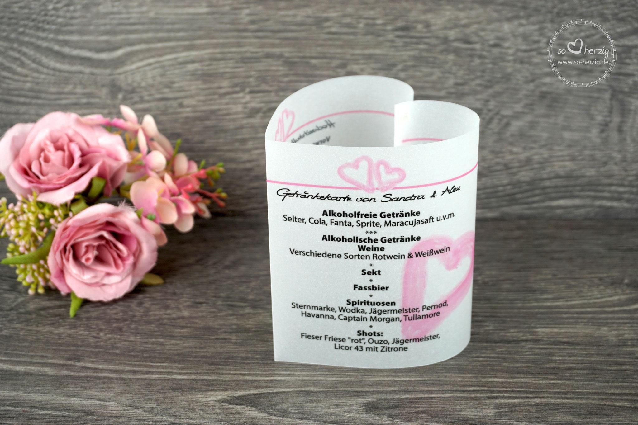 "Menükarte 10,5cm, Variante ""große Herzen"", Farbe Rosa, Schrift WIP First Lady"