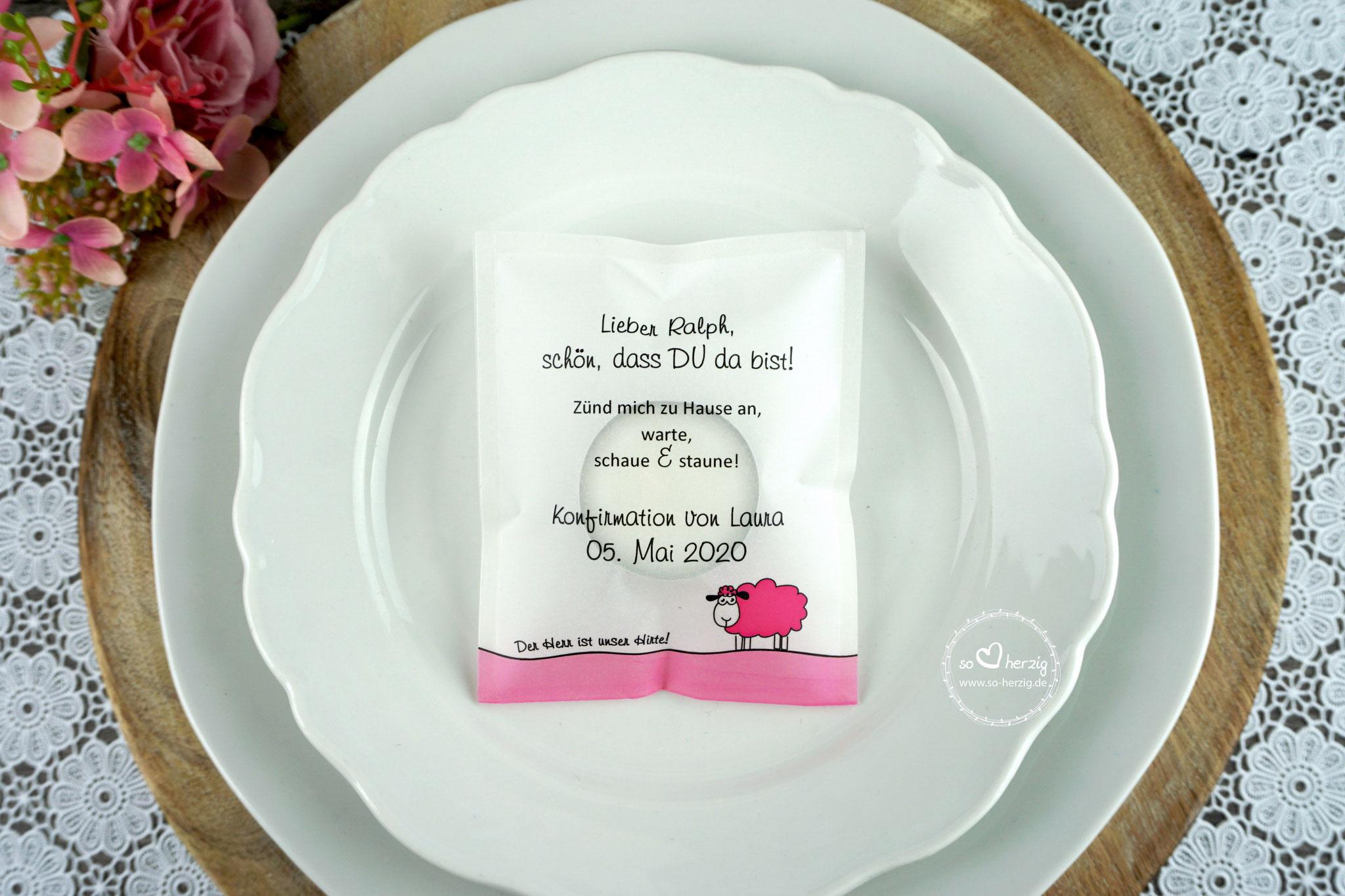 """Teelicht-Botschaft """"Verpackung als Platzkarte"""", Design """"Schaf"""" pink - Sonderwunsch Rand unten pink"""