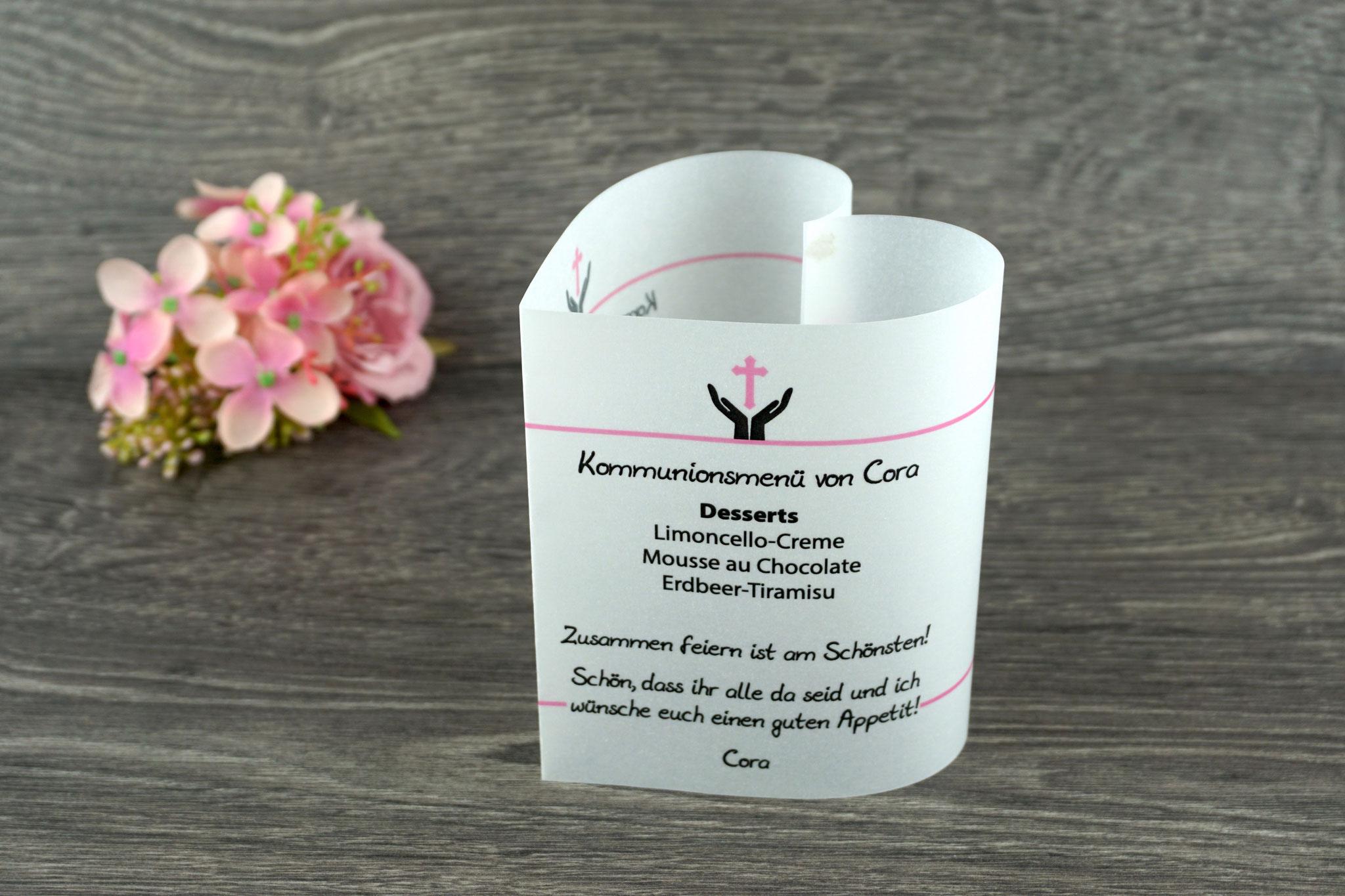 Menükarte Design Hand/Kreuz, Farbe Rosa