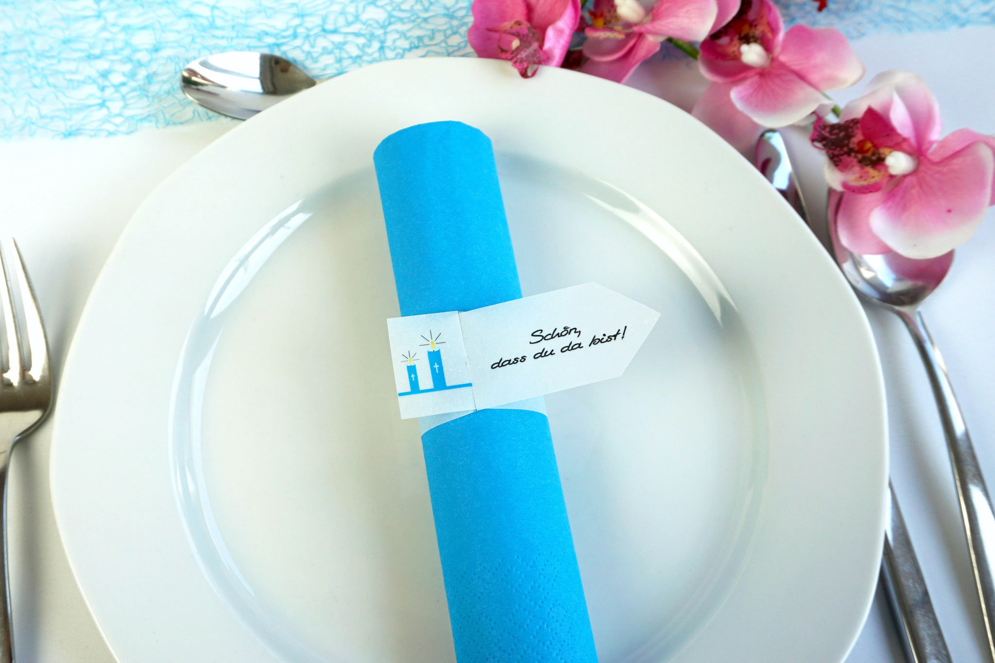 Serviettenring Design Kerzen, Farbe Aqua, Randabschluss Fahne