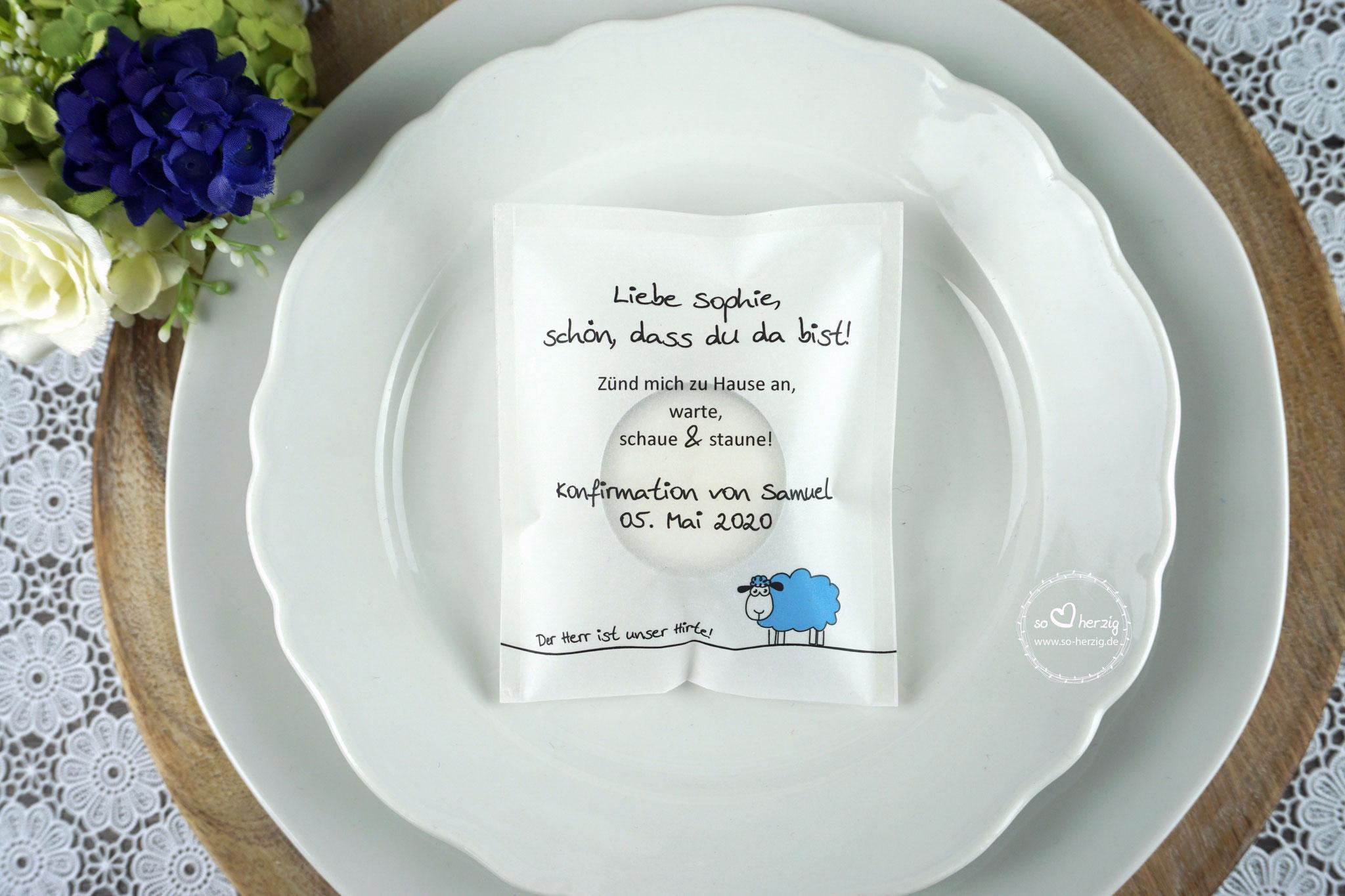 """Teelicht-Botschaft """"Verpackung als Platzkarte"""", Design """"Schaf"""" Blau- ohne farbigen Rand unten"""