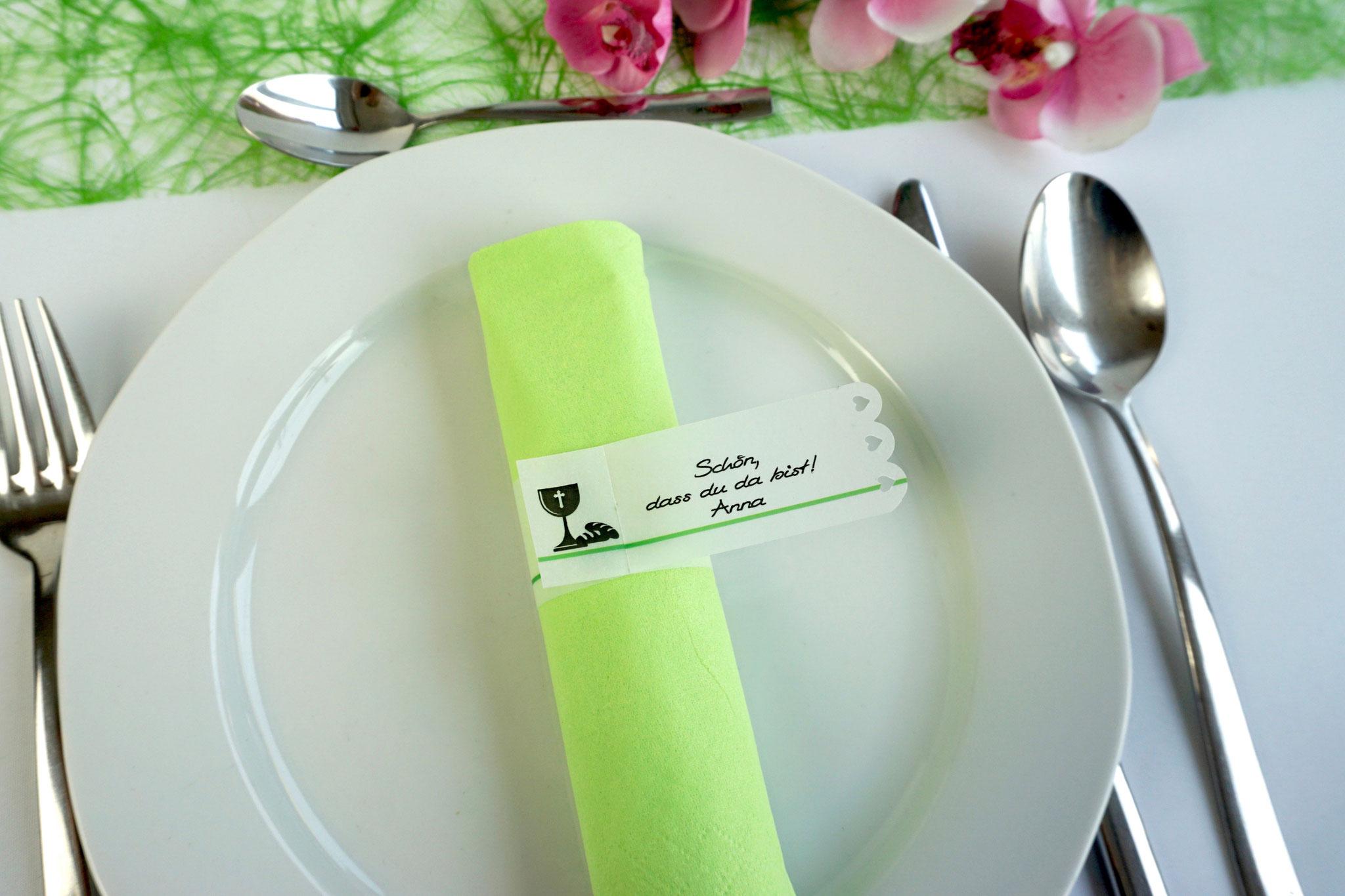 Serviettenring Design Kelch/Brot, Farbe Apfelgrün, Randabschluss Wellenrand