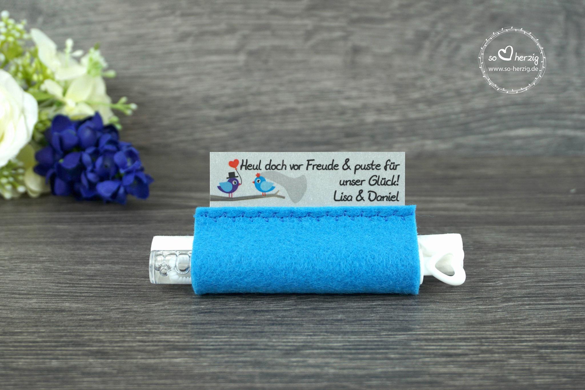 Freudentränen Taschentücher mit Bubbles, Filz blau, Design Hochzeitsvögel royalblau/blau
