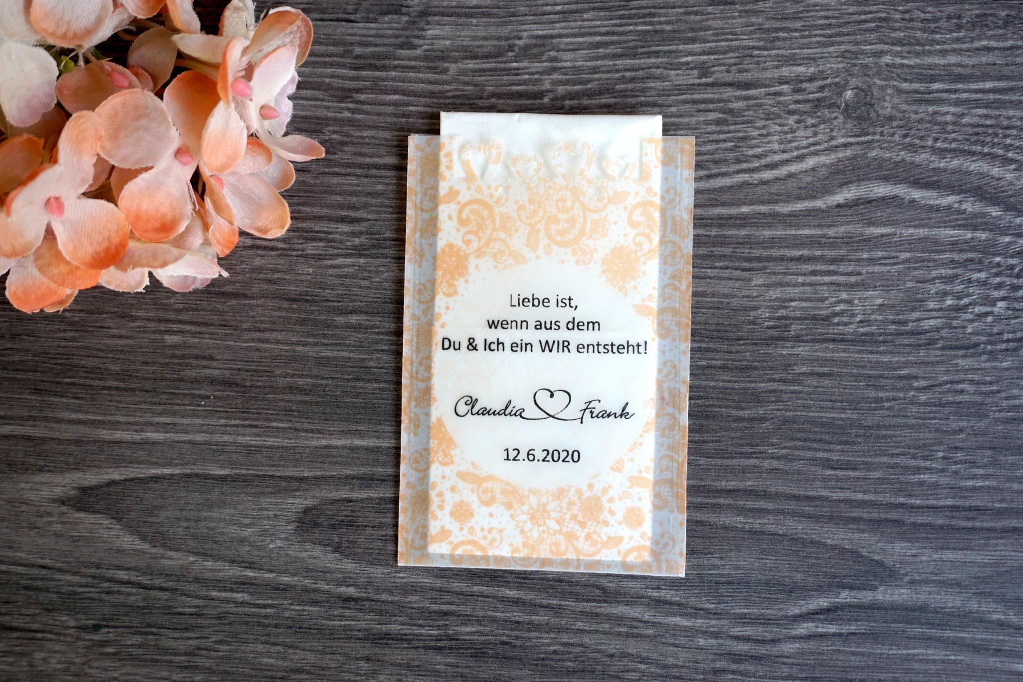 Freudentränen Taschentücher Design Spitze Vintage, Farbe Apricot, mit Herzrand