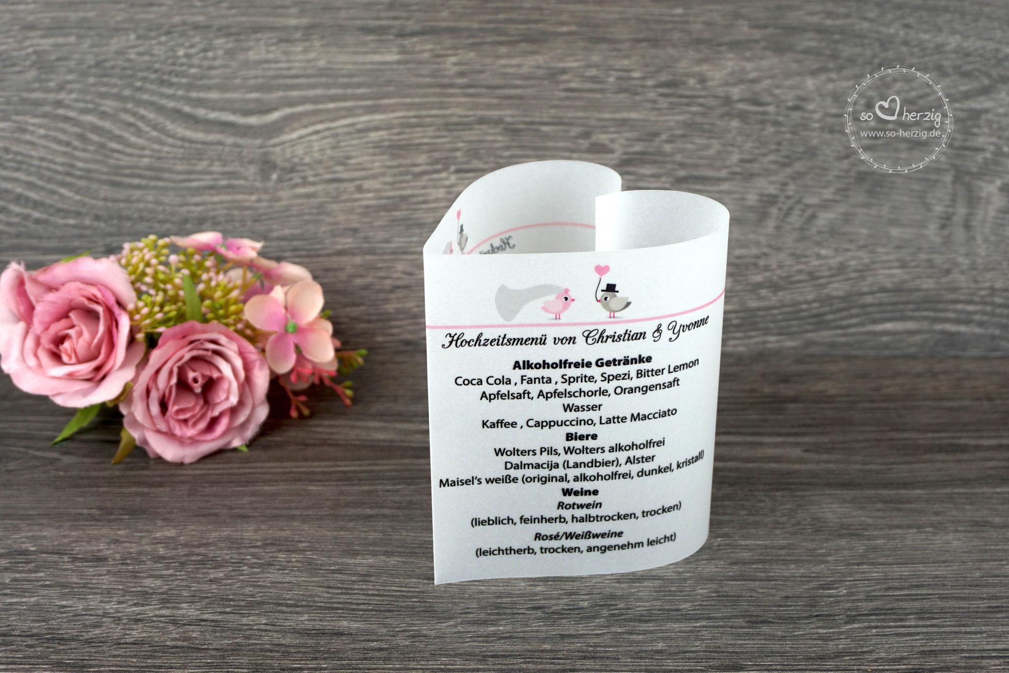 Menükarte 10,5cm, Variante Hochzeitsvögel graubraun/puderrosa, Schrift CAC Champagne