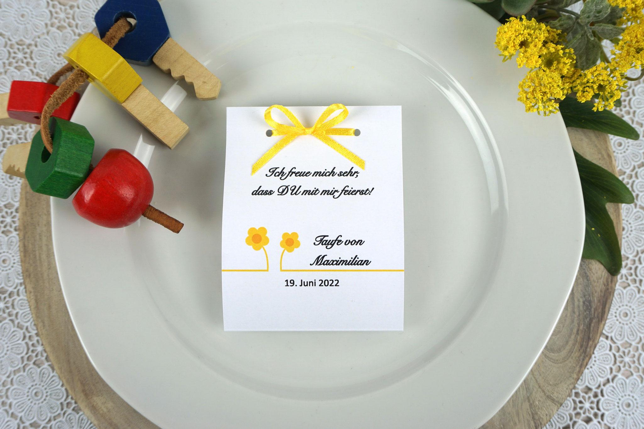 Fruchtgummi Design Blümchen Gelb - Schrift Snell Roundhand