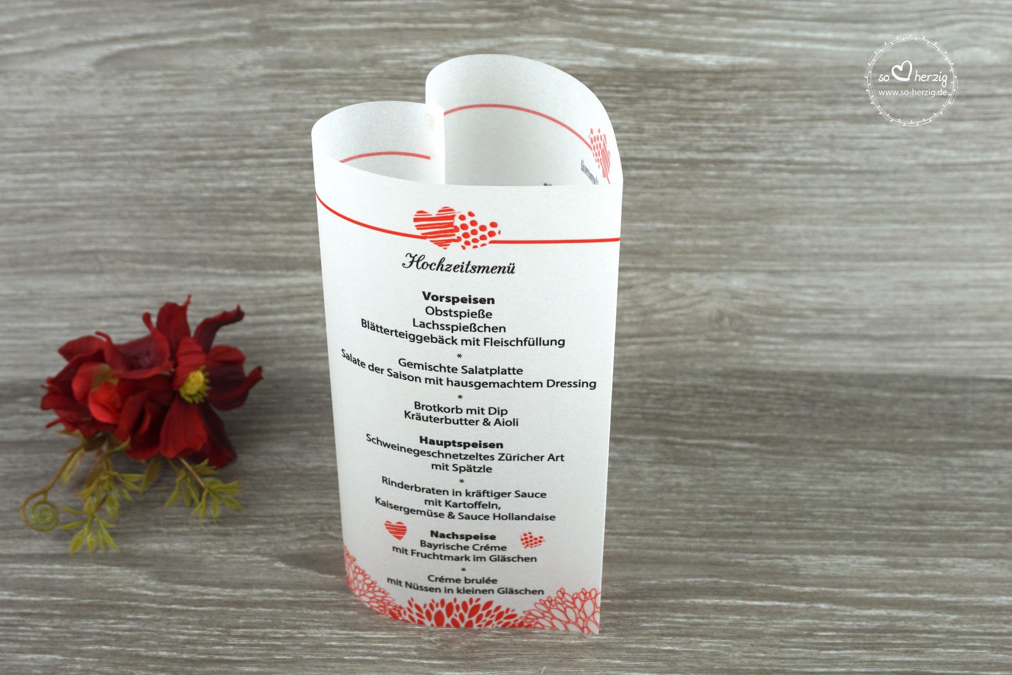 """Menükarte Herzform 17cm, Variante """"zwei Herzen"""", Farbe rot, Schrift CAC Champagne"""