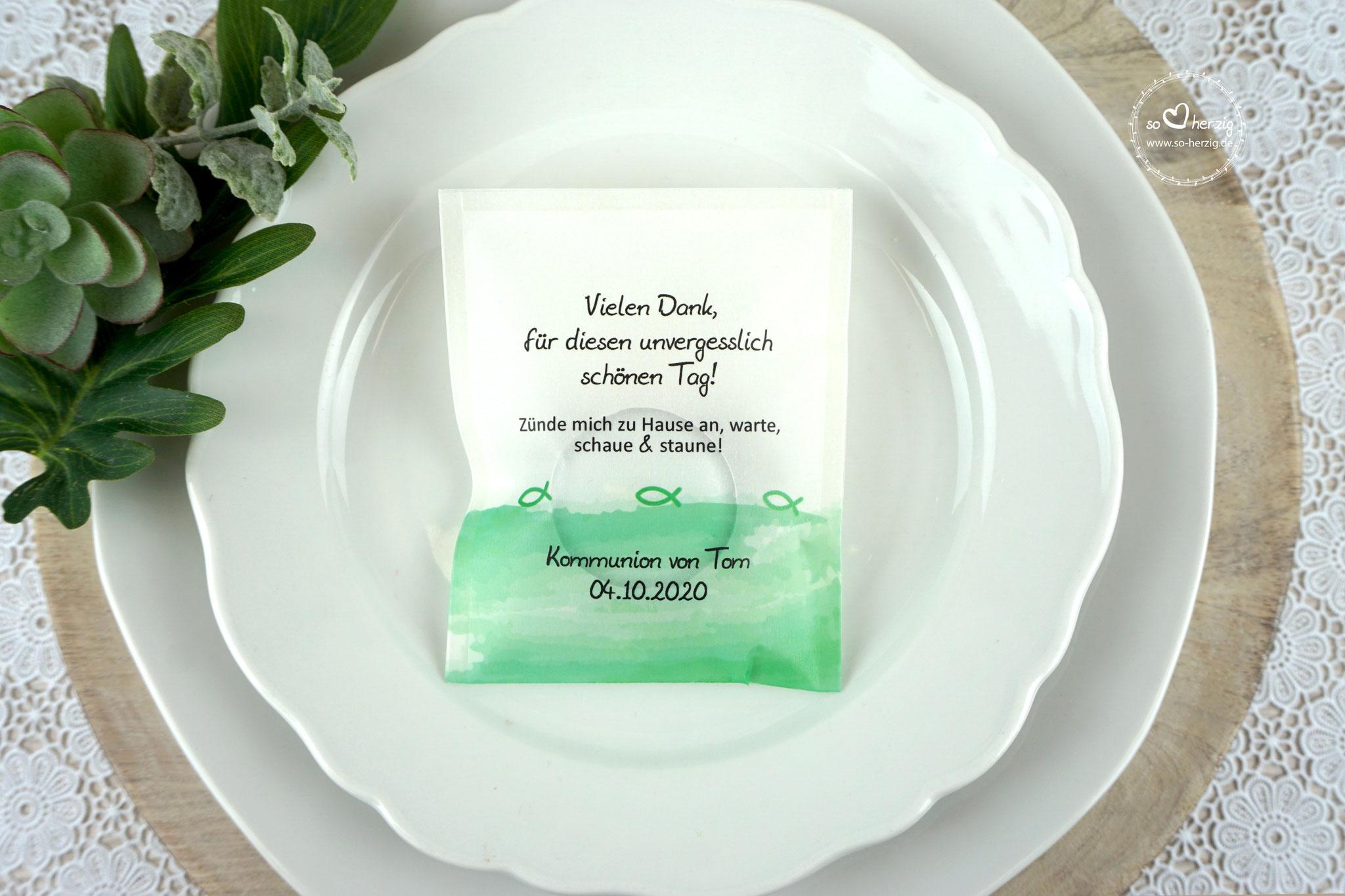 Licht-Botschaft  Design Aquarellband/Fische Grün