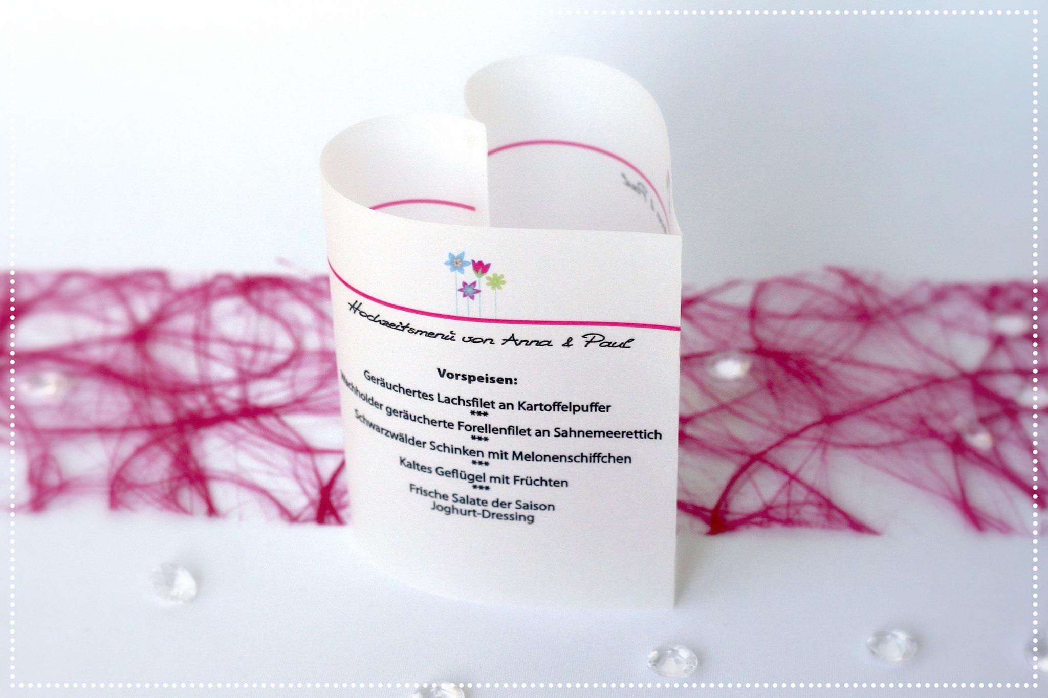 Menükarte Blumenwiese Pink