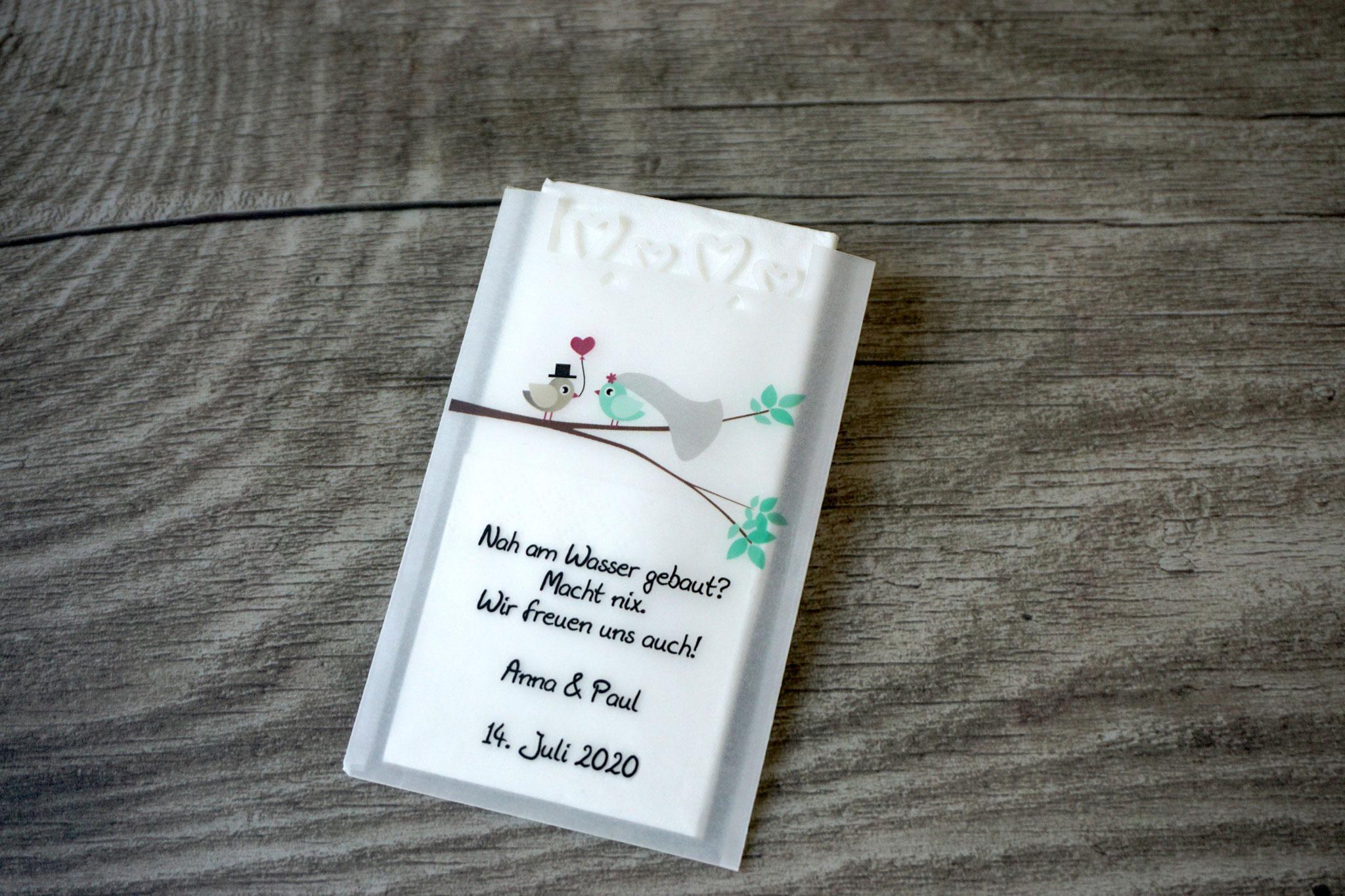 Freudentränen Taschentücher Design Hochzeitsvögel verzweigter Ast, Farbe Mint mit Herzrand