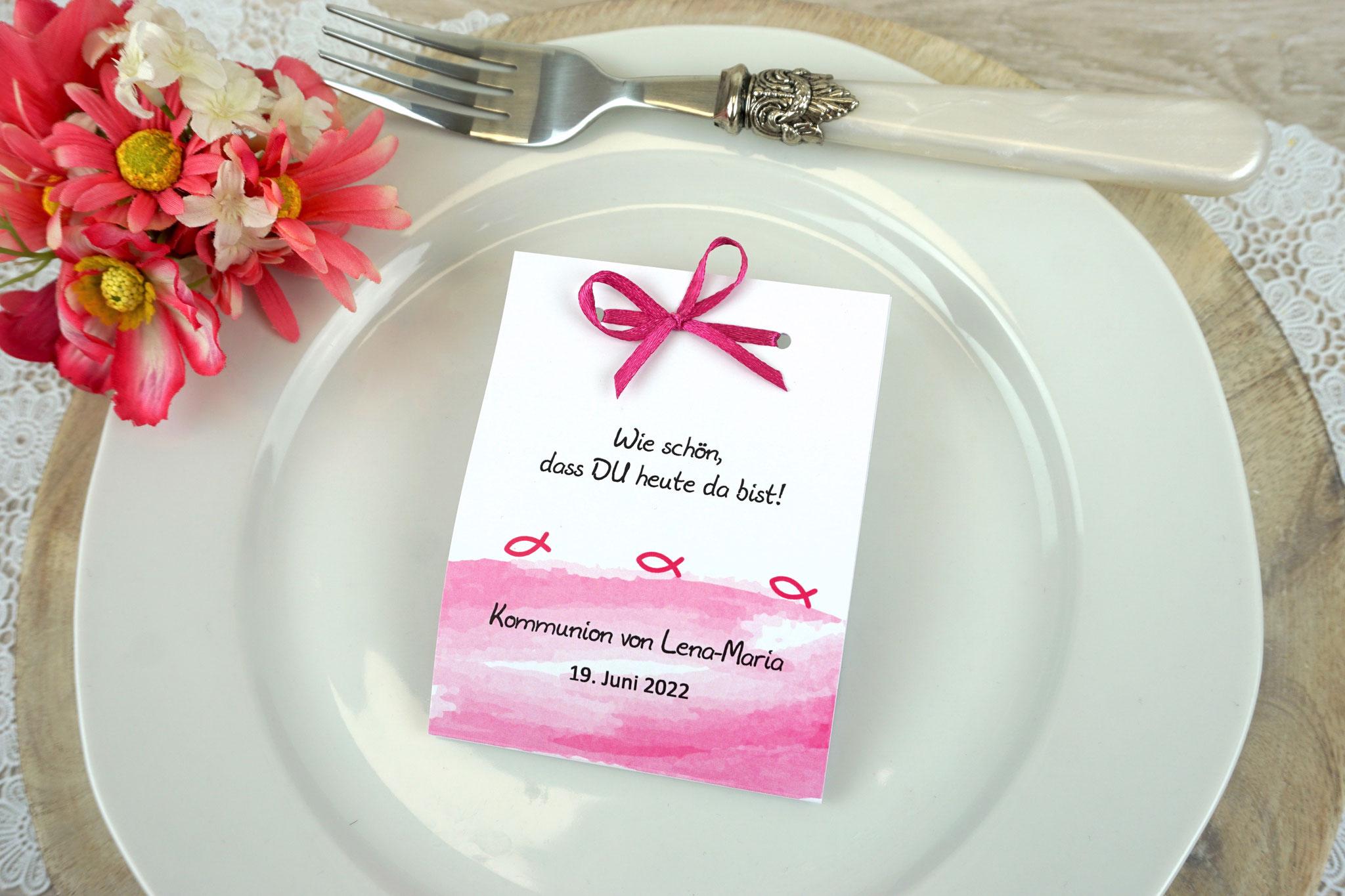 Fruchtgummikarte Design Aquarellband/Fische Pink