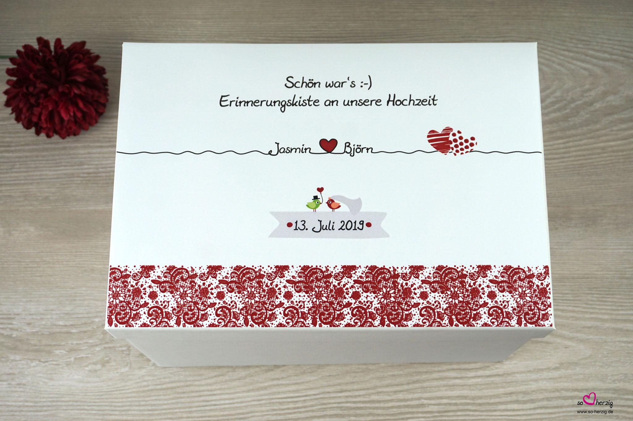 "Erinnerungskiste Design Spitze Dunkelrot - Sonderanfertigung ""Zwei Herzen"""