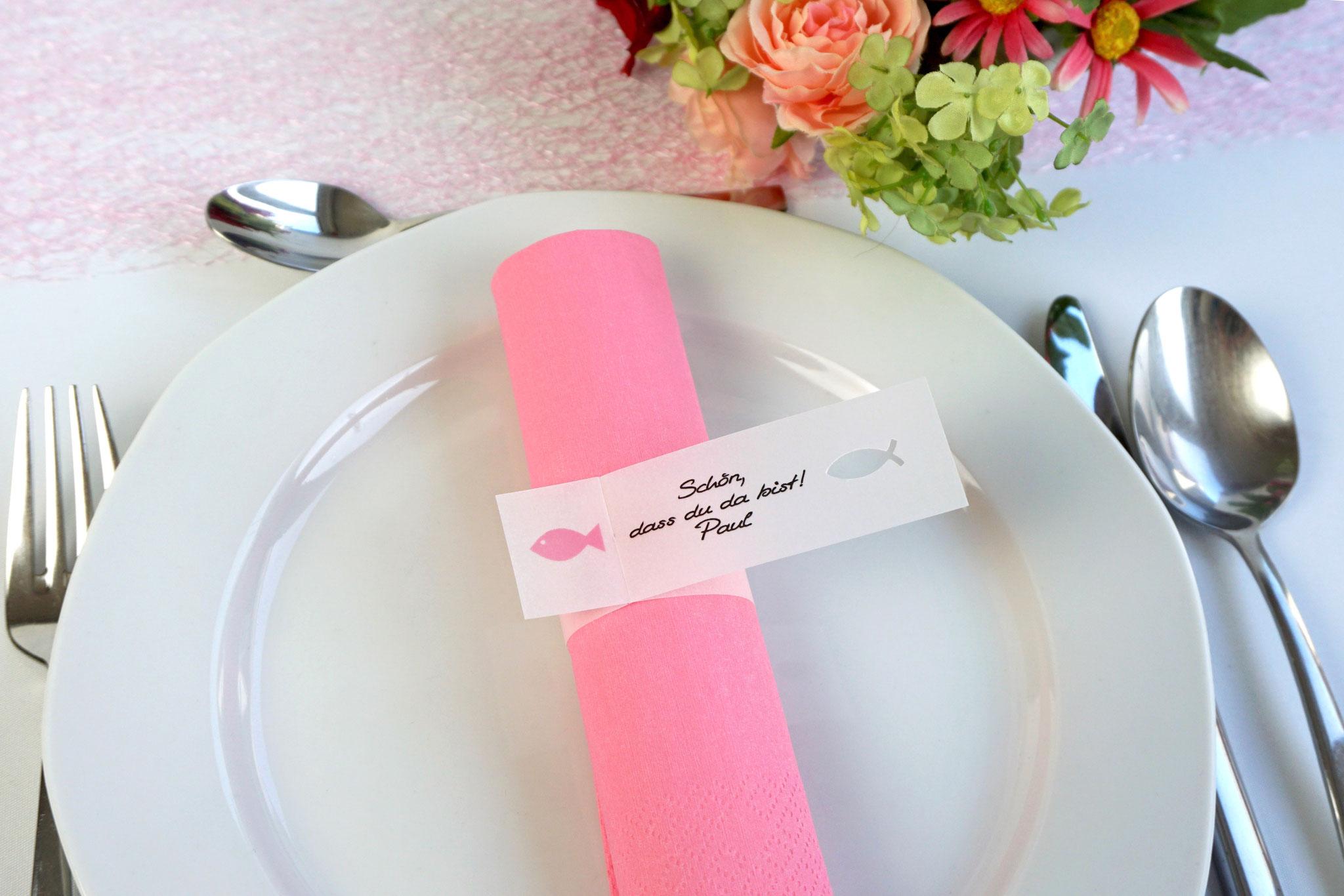 Serviettenring Design Fisch, Farbe Rosa, Randabschluss Fisch