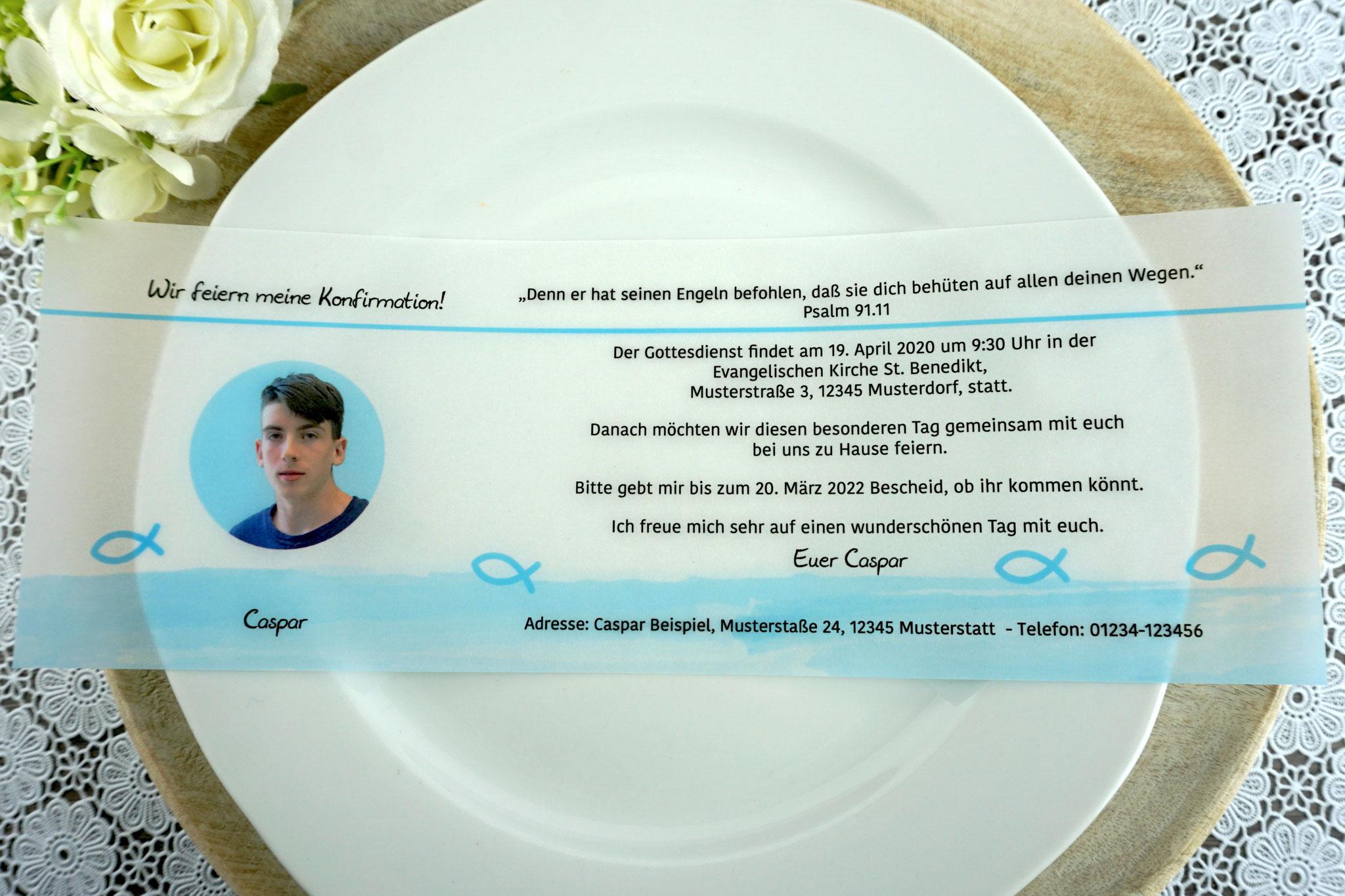 Einladungskarte aus Pergamentpapier Design Fisch Silhouette/Aquarellrand, hellblau - mit Bild
