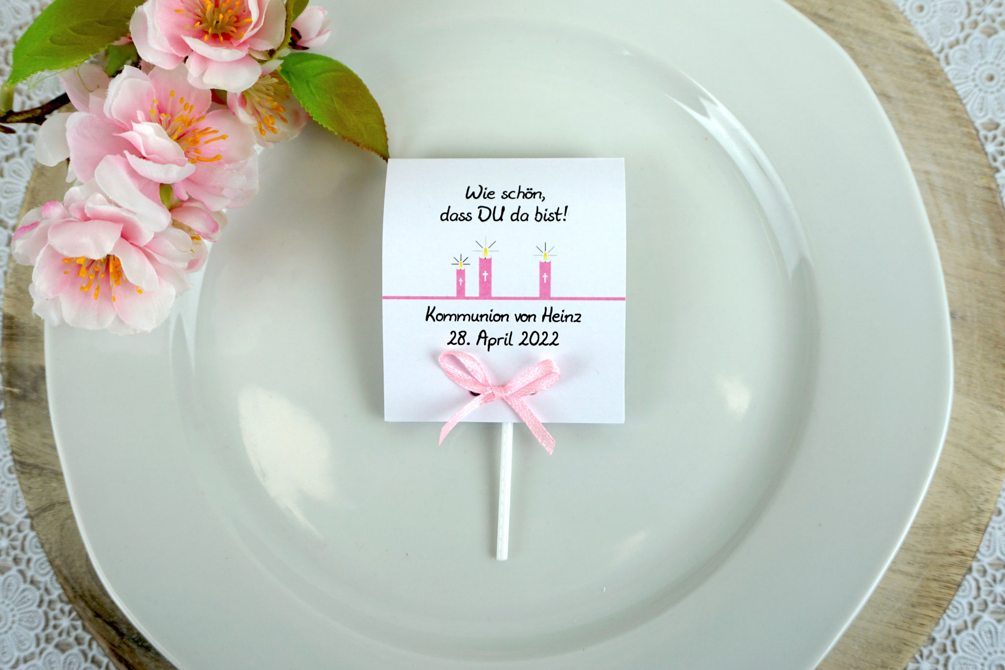 Lutscher Design Kerzen Farbe Rosa