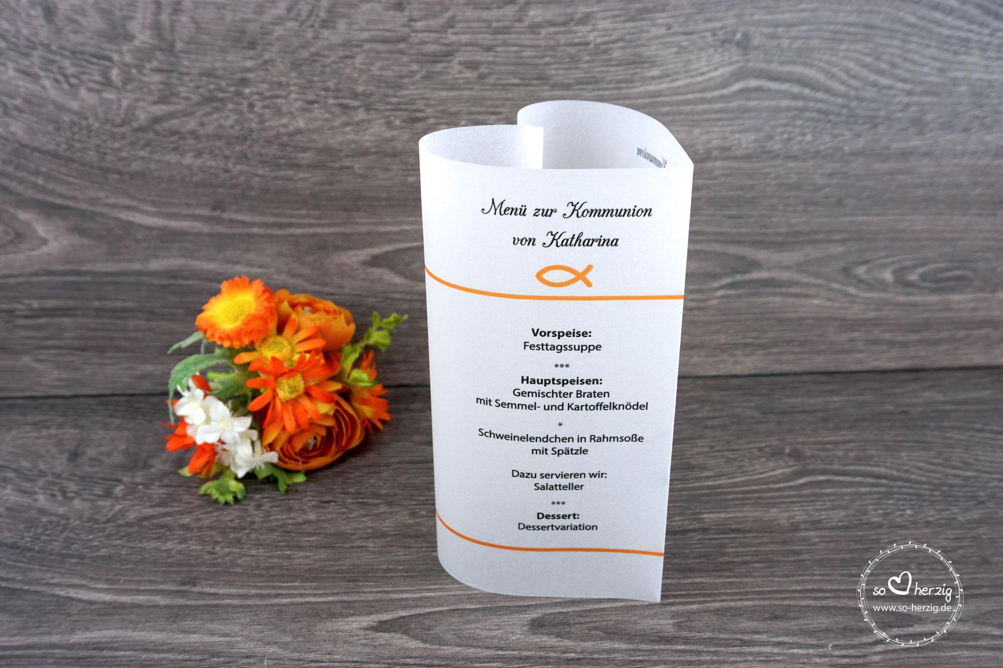 """Menükarte Herzform 17cm, Design """"Fisch Silhouette"""", Farbe Orange"""