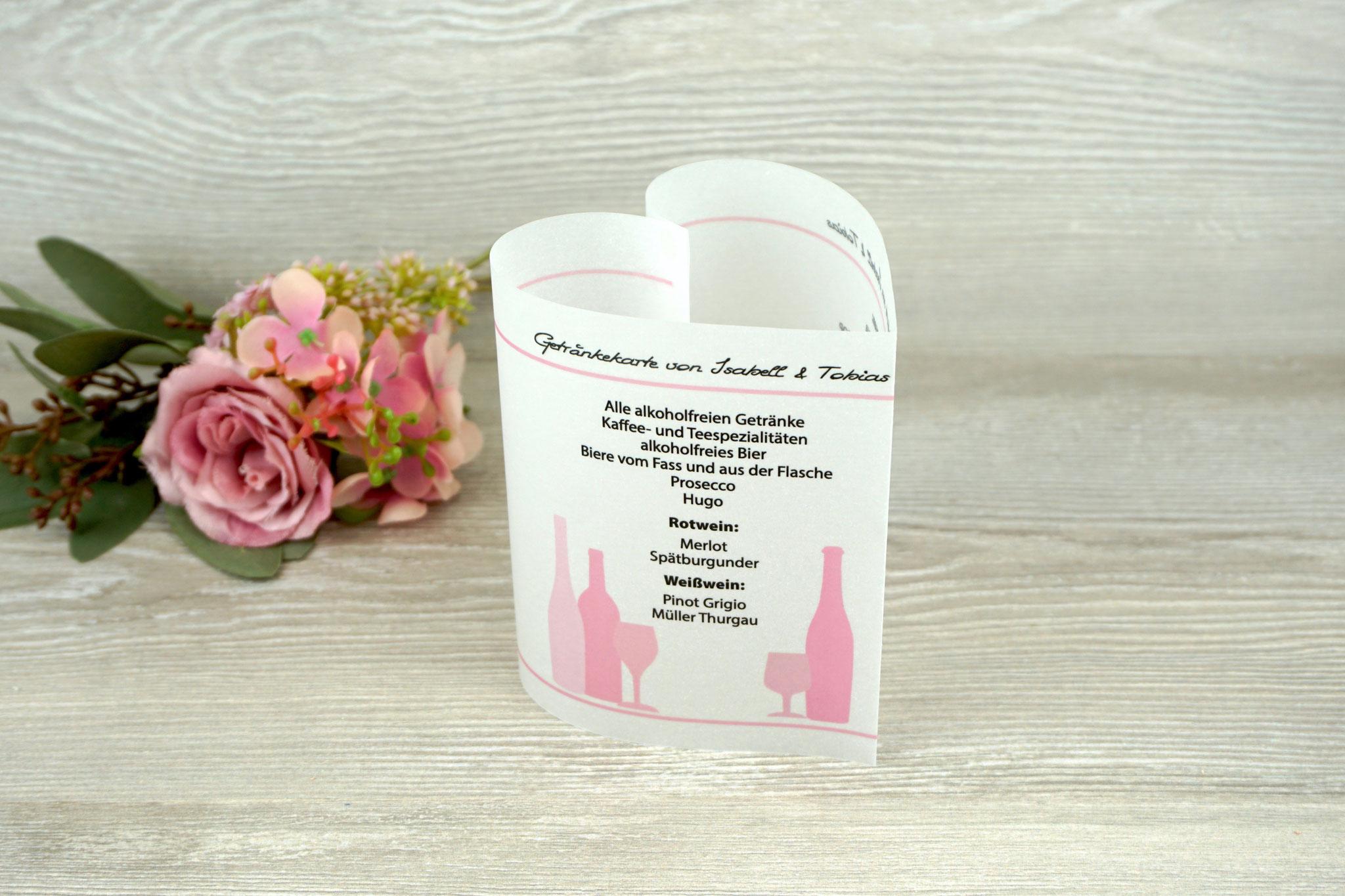 Getränkekarte Herzform 10,5cm, Farbe Rosa