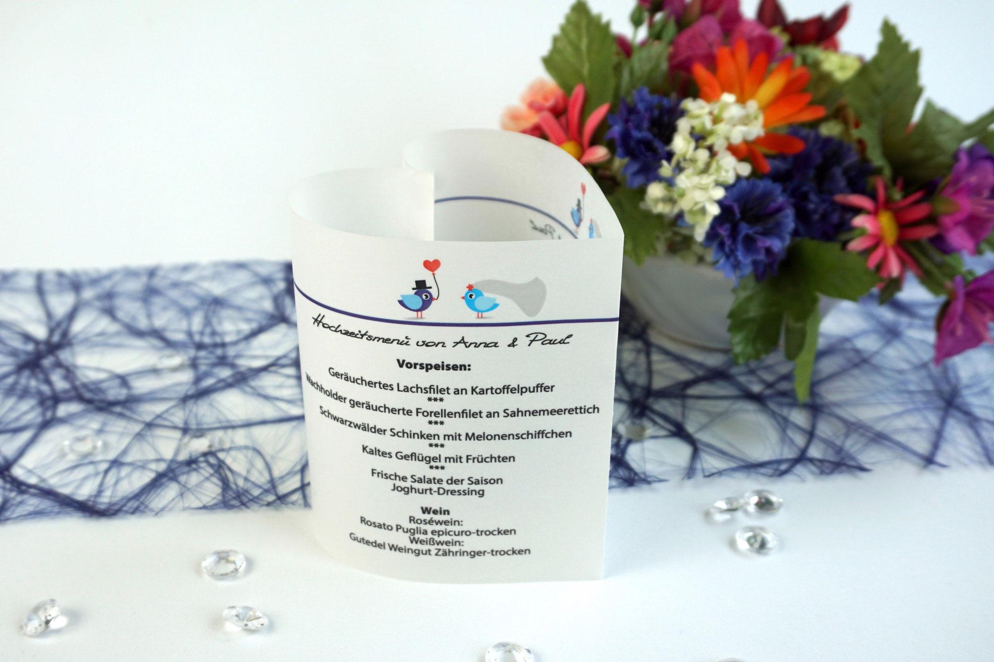 Menükarte 10,5cm Hochzeitsvögel, Farbe Royalblau/Blau, Schrift First Lady