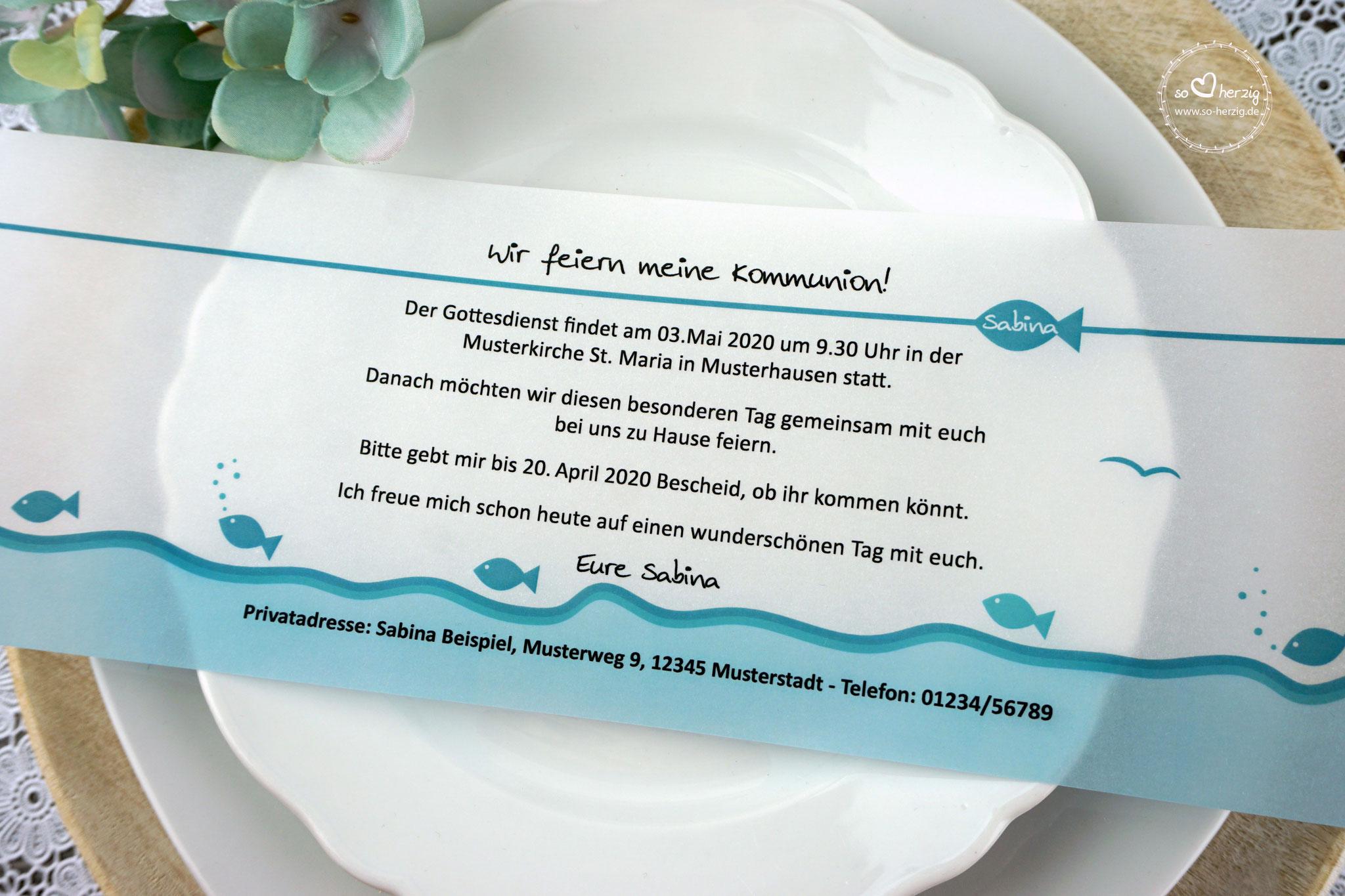 Einladungskarte aus Pergamentpapier Design Fisch türkis - ohne Bild